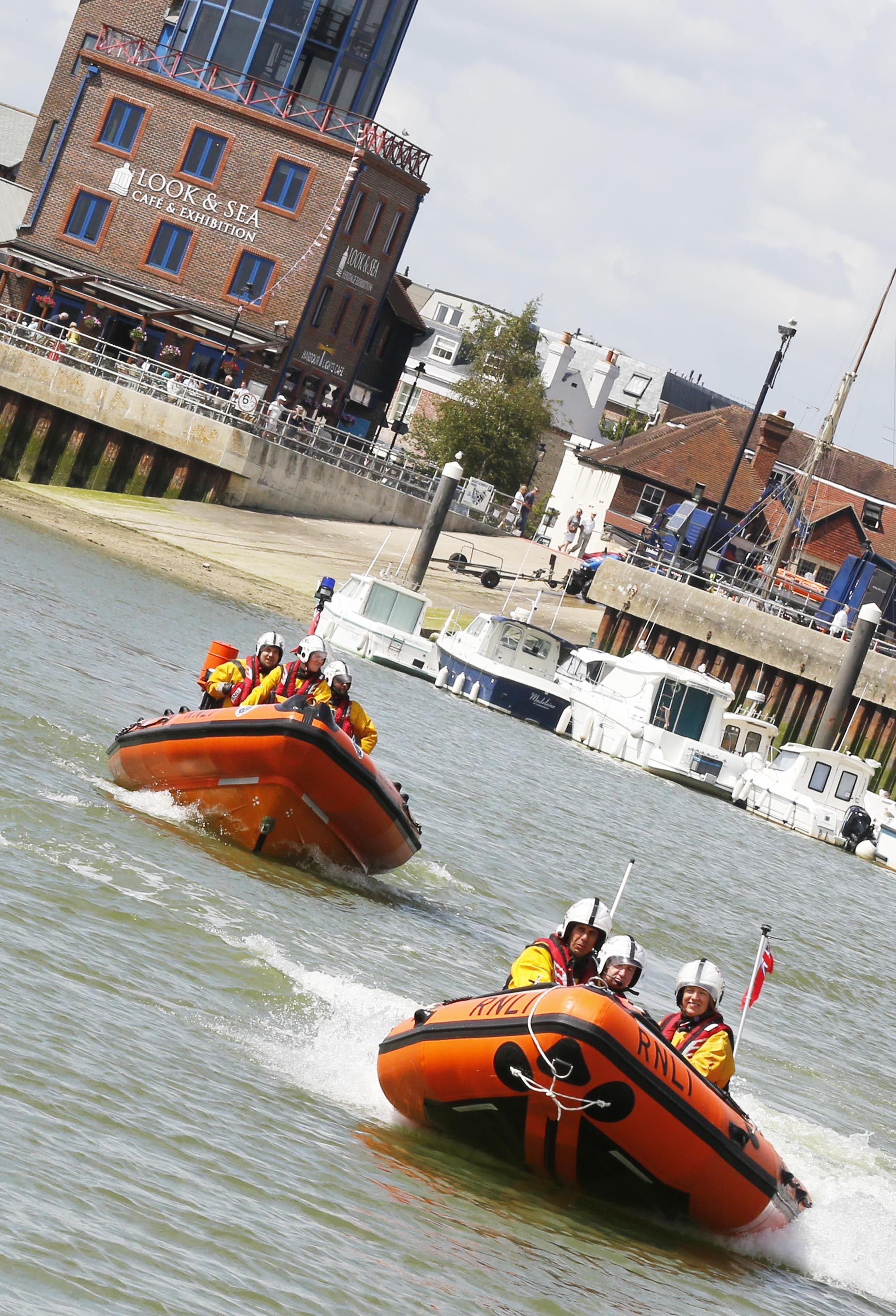 Both Littlehampton RNLI lifeboats leaving the station
