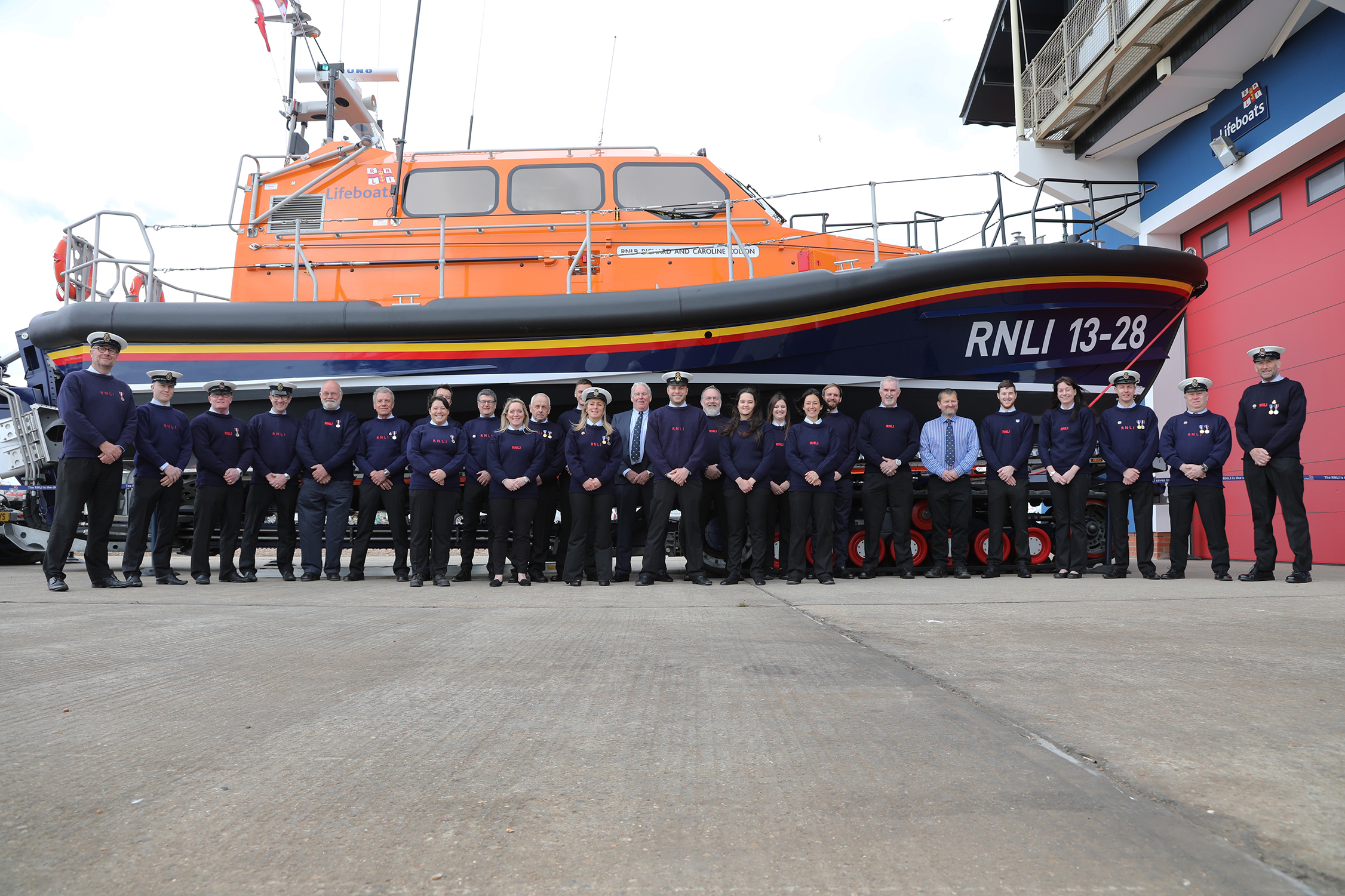 The crew of the newly named Hastings Lifeboat 'Richard and Caroline Colton'