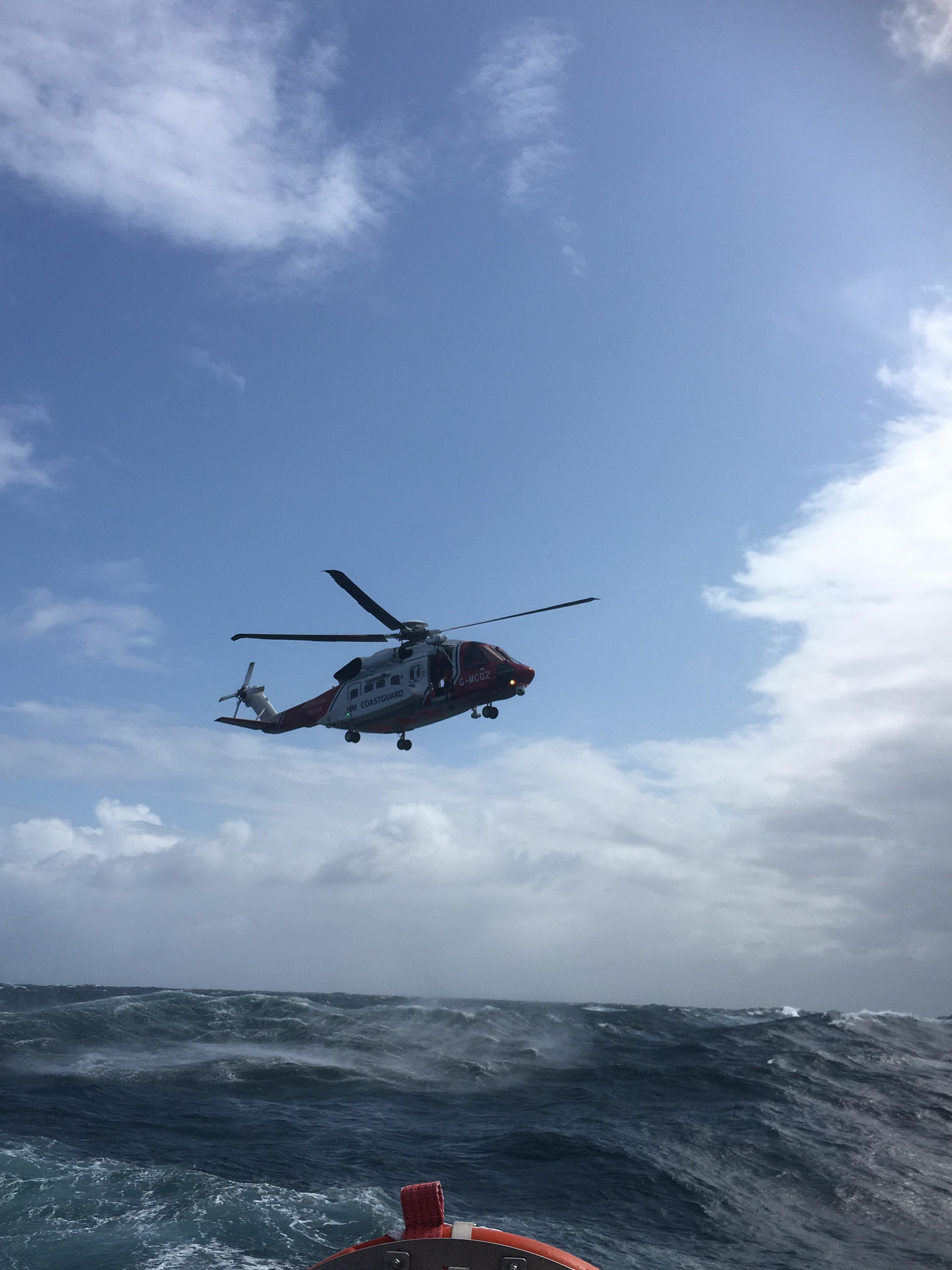 St Ives RNLI rescue along with HMCG helicopter