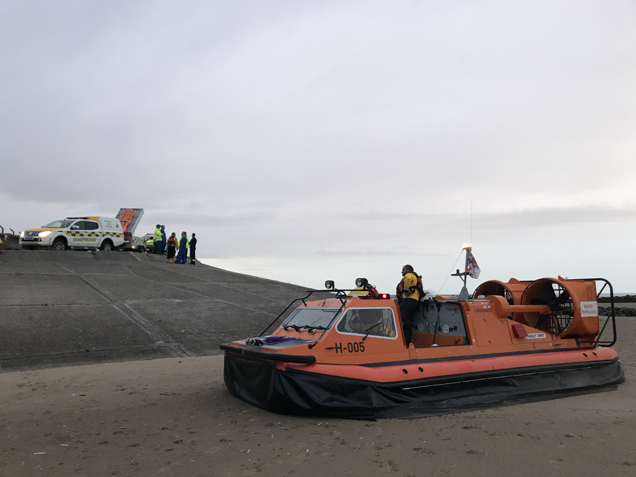 RNLI Hoylake Hovercraft H-005 Hurley Spirit responds to report of person in the water off Leasowe