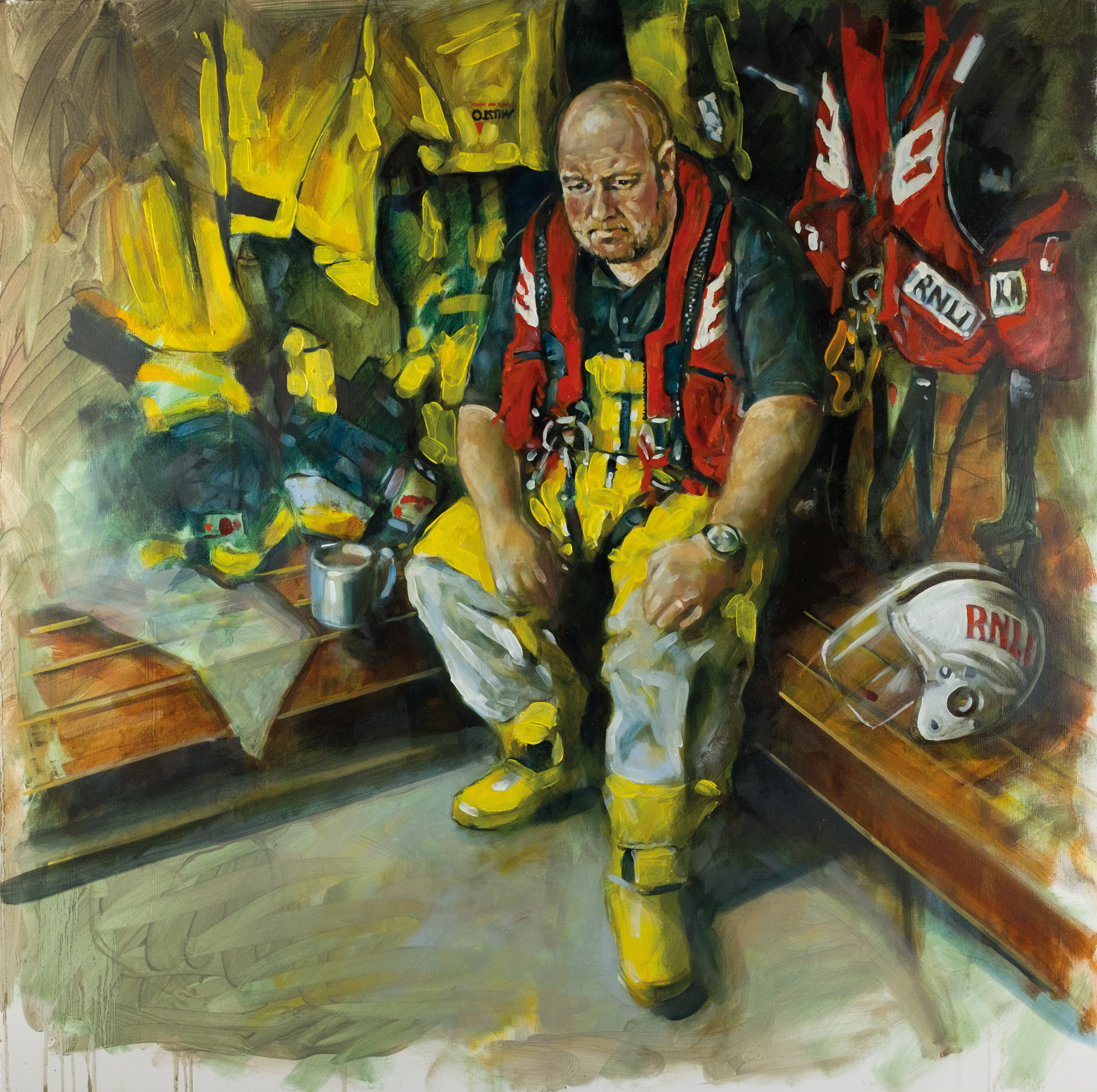 Painting of one of the lifeboat crew sitting surrounded by lifeboat kit, looking thoughtful.