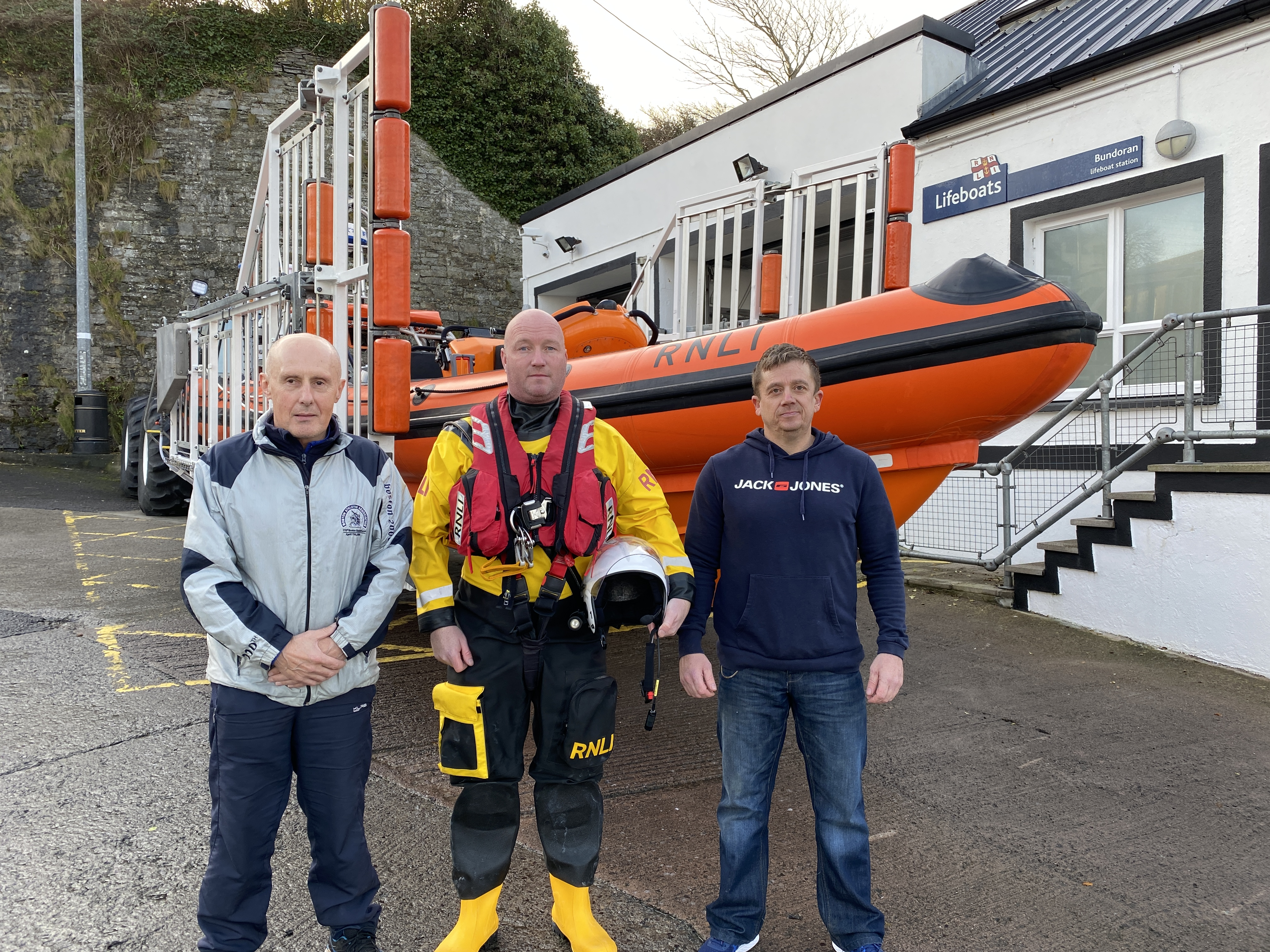 Pictured are Tony Cummins, Daimon Fergus and Damien McNamara who were on the crew the day of the rescue in 1998