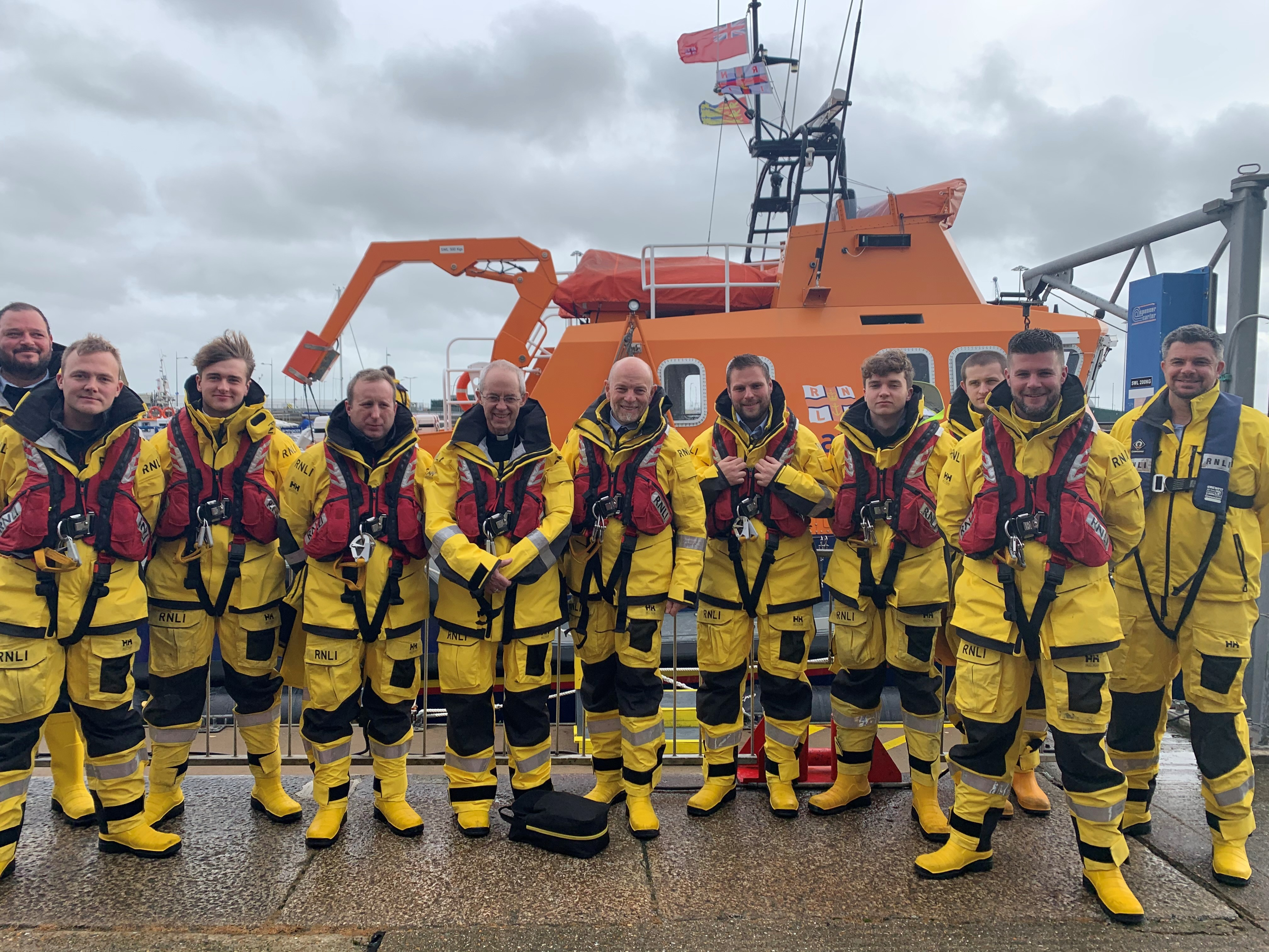 Archbishop Justin Welby with the Dover RNLI lifeboat crew