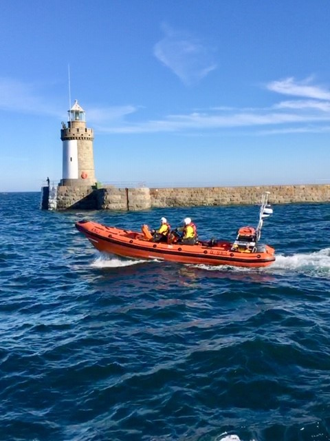 St Peter Port's new inshore lifeboat launching on exercise