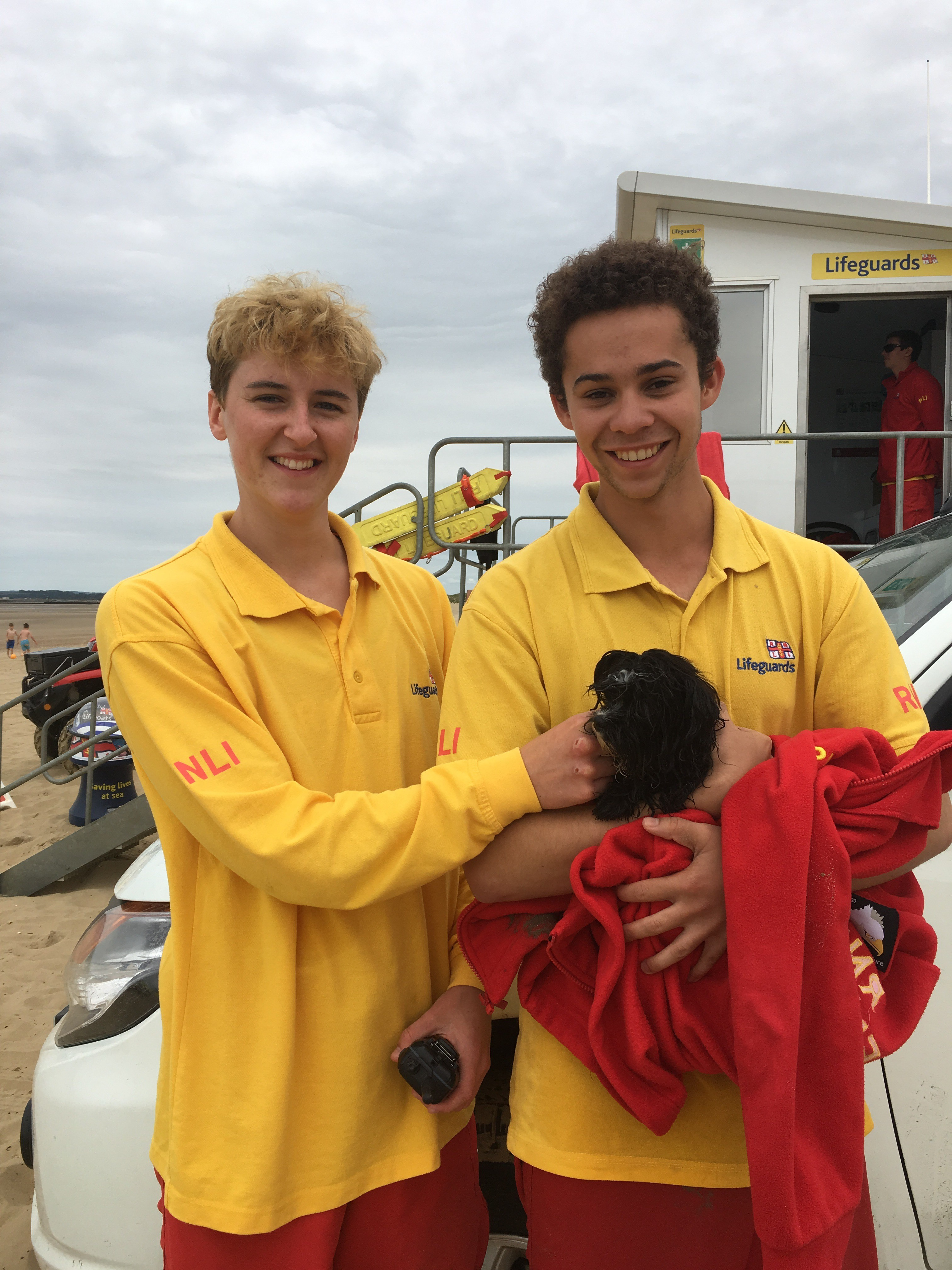 RNLI Lifeguards Georgia Landy and Laurence Petit after yesterday's rescue
