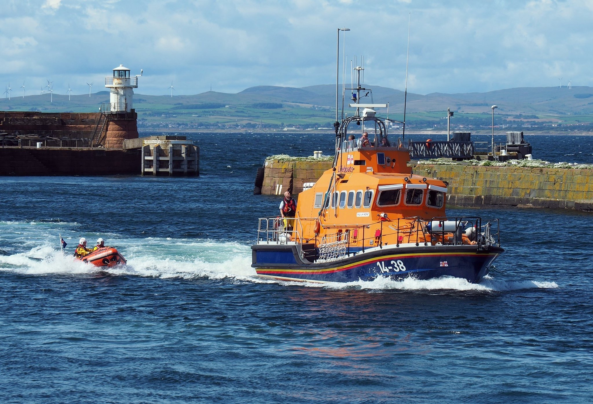Both Troon RNLI lifeboats during the man overboard display