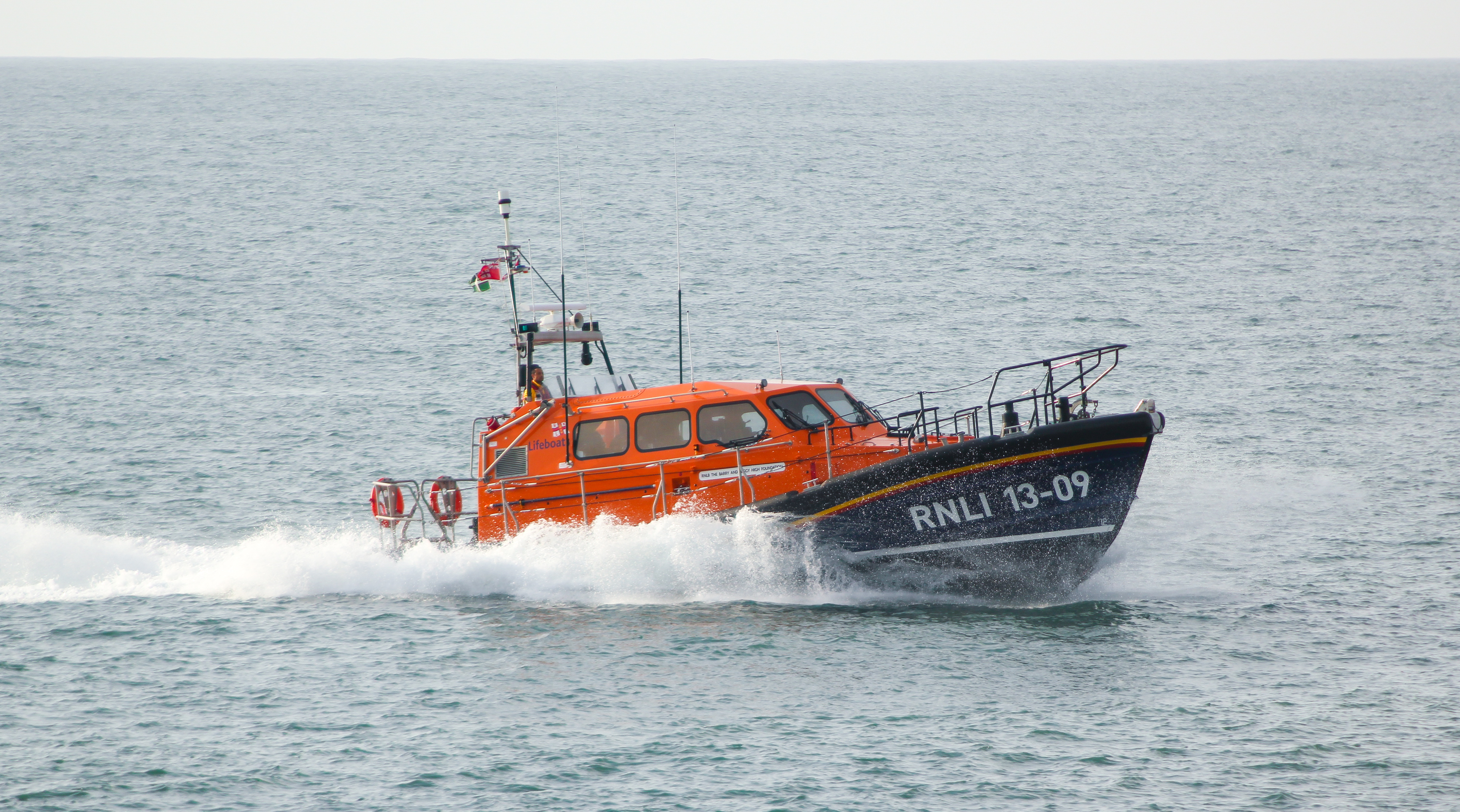 Shannon class lifeboat at sea returning to station