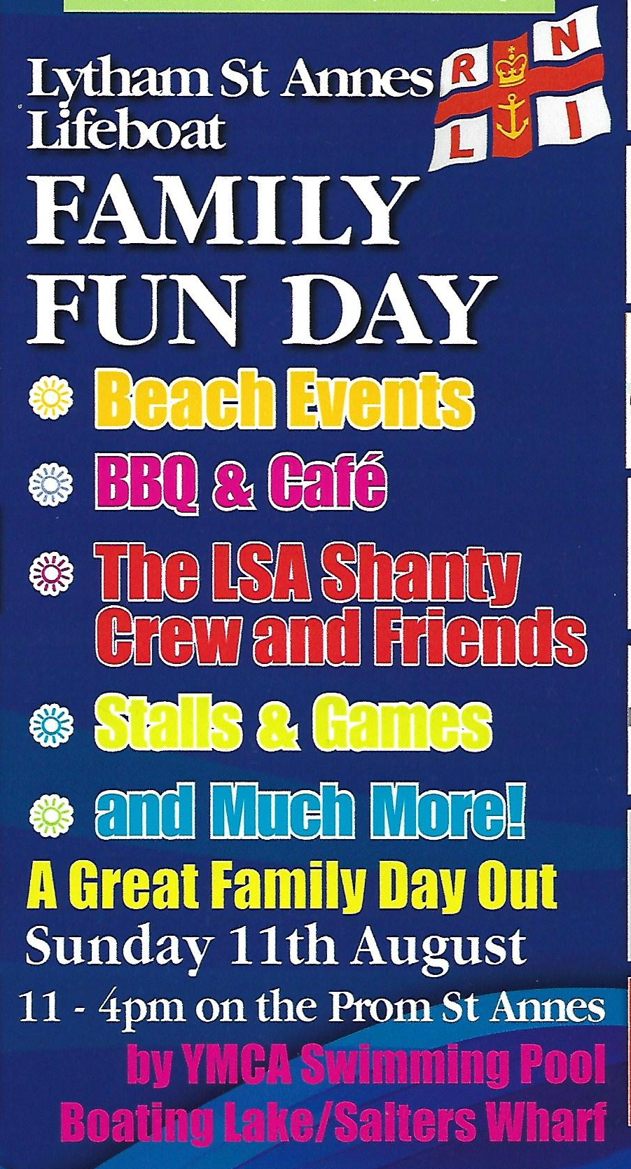 a poster with a list of attractions for Family Fun Day