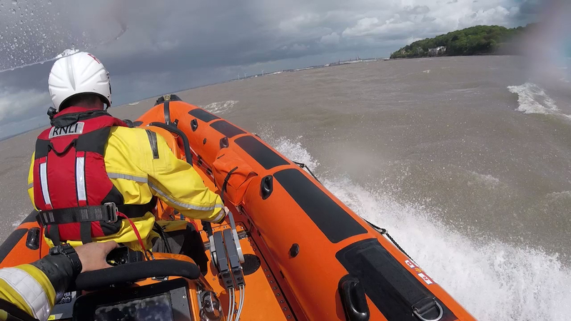 A yacht with 2 people on board lost all power and were drifting in fast moving water in the Bristol Channel. RNLI Portishead were able to tow them back to the safety of Portishead Marina/
