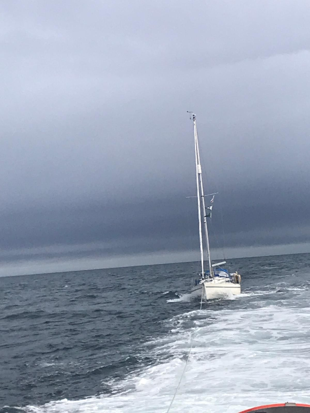 Yacht being towed 10.06.2019 photograph by volunteer crewmember Simon Collins