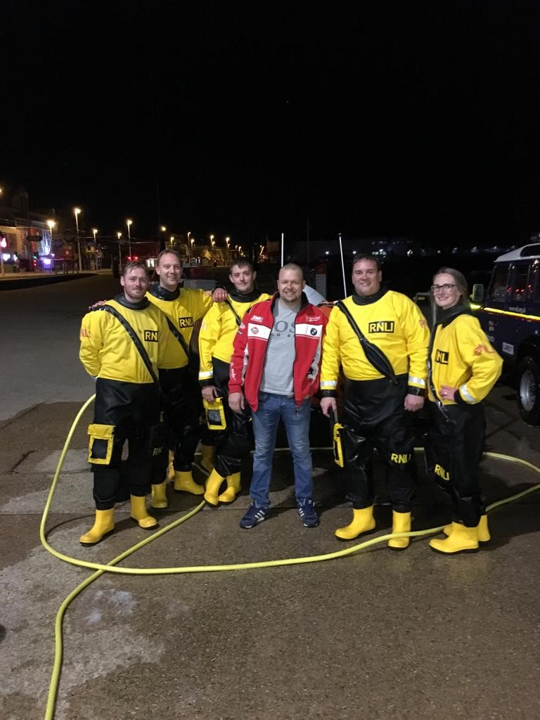 Martyn Bibb (centre) with other members of Blackpool lifeboat crew