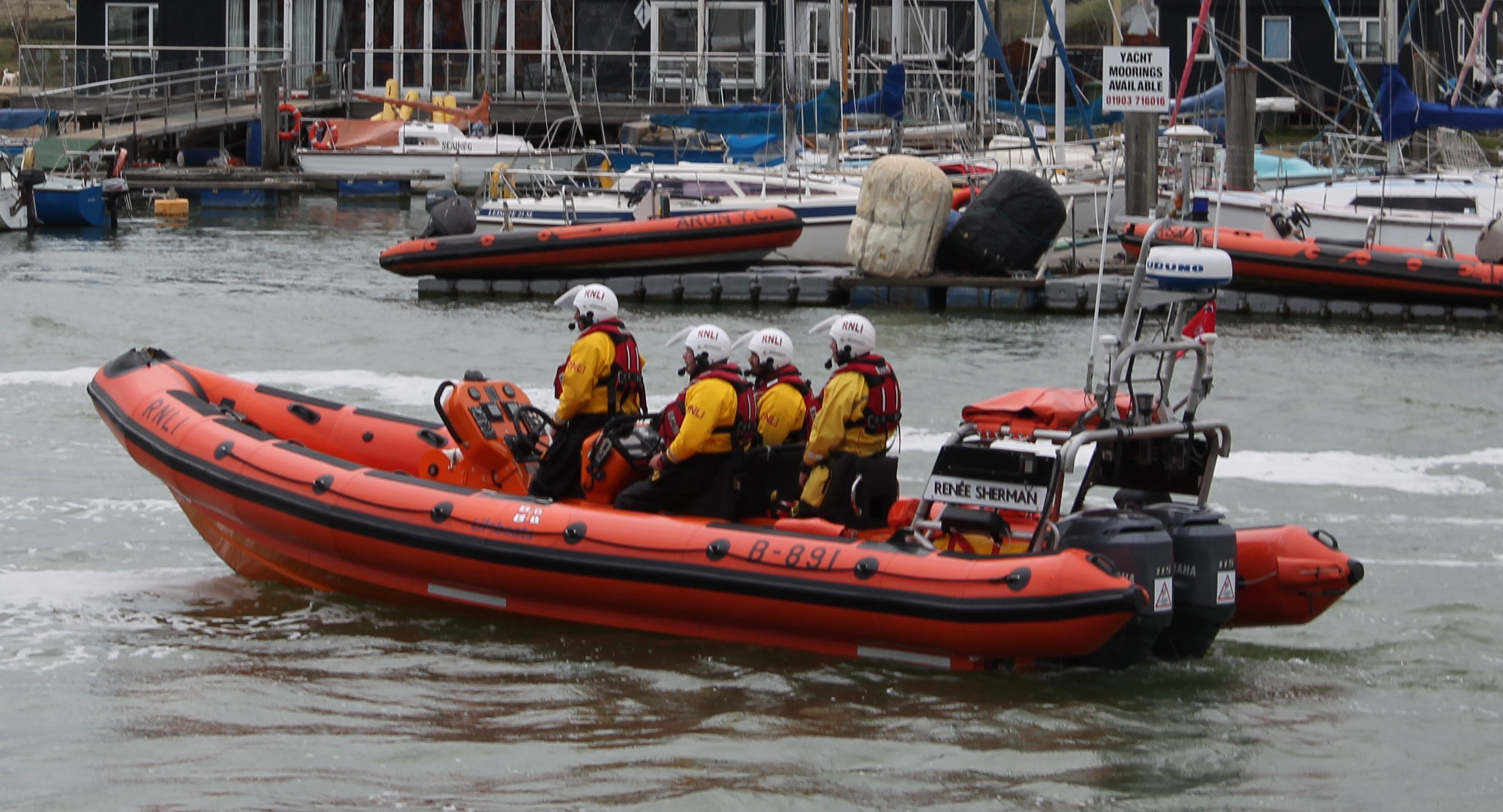 The picture is of the Littlehampton RNLI lifeboat Renee Sherman with four crew on board