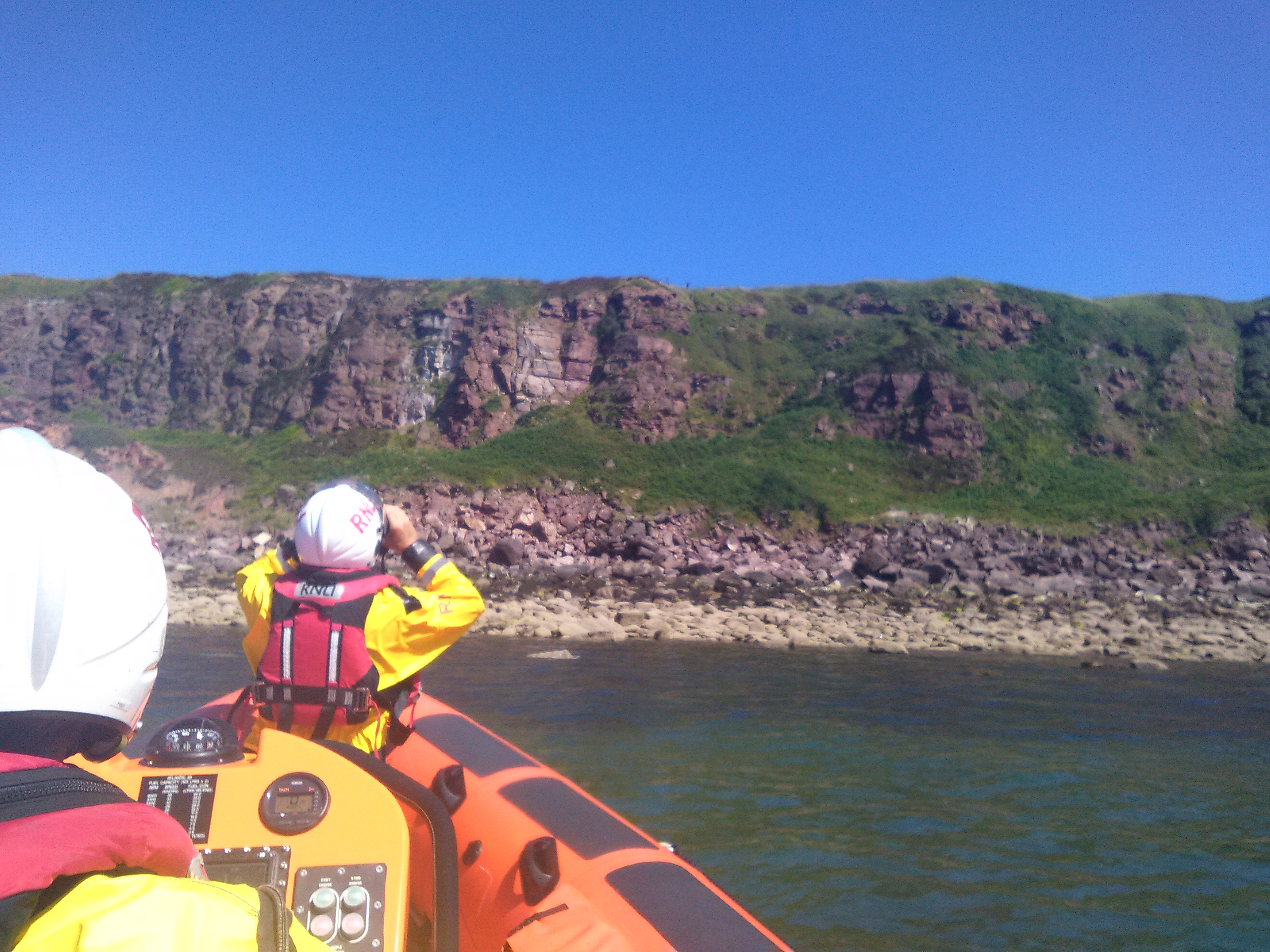 St Bees crew searching for the dog that had fallen down the cliffs