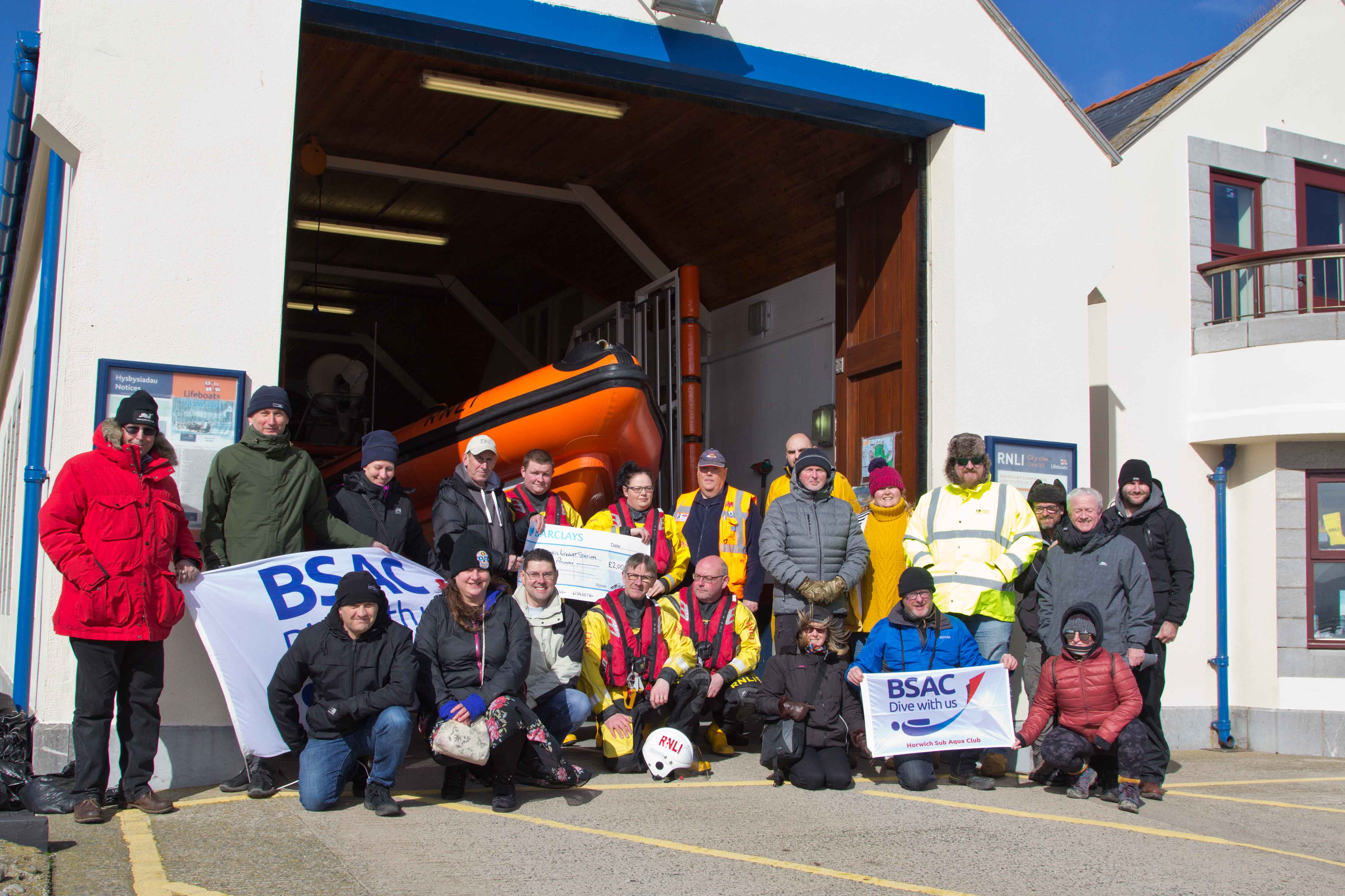 Presentation by members of various Britsh Sub-Aqua Clubs to Beaumaris Lifeboat