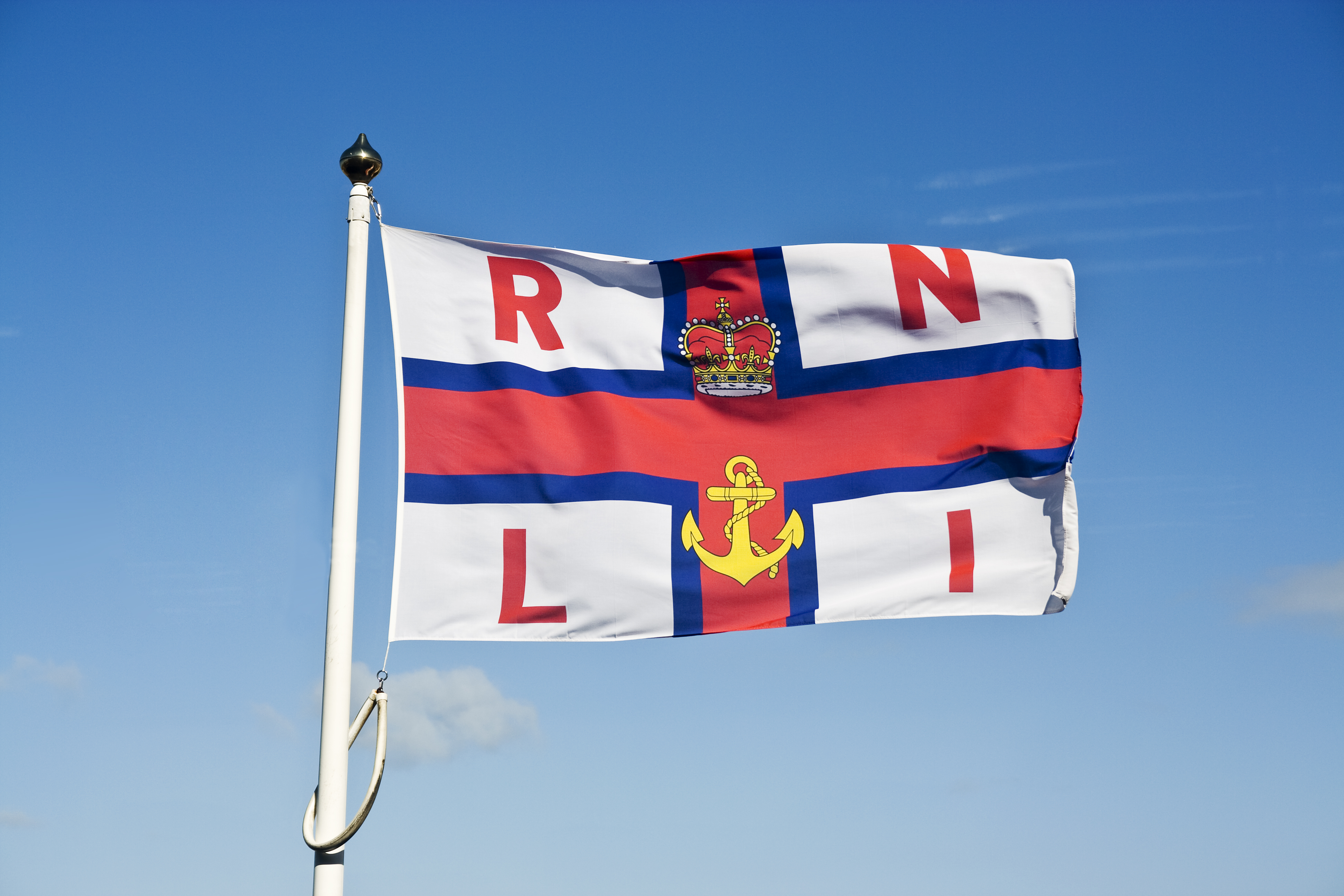 RNLI flag in the sky