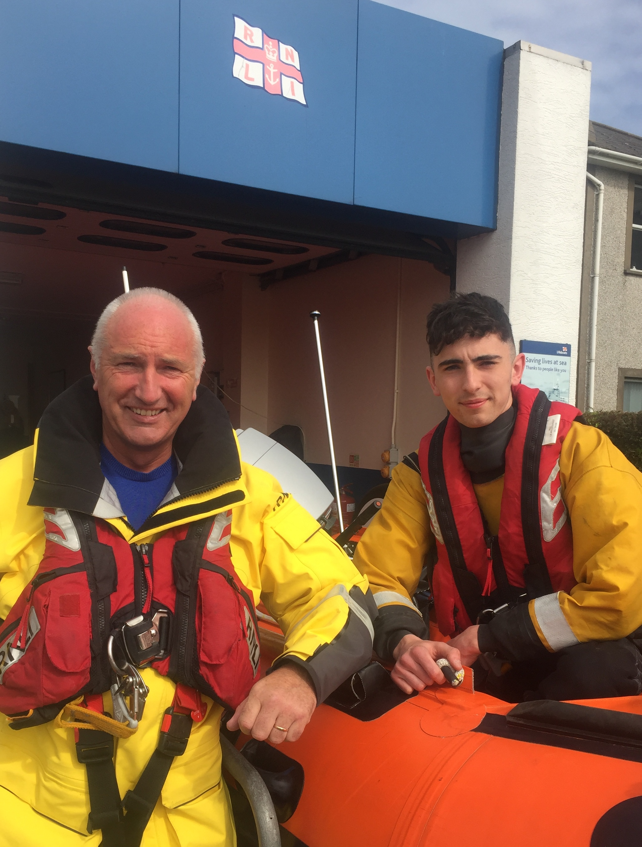 Larne RNLI Coxswain Frank Healy and his son crew member Jack Healy