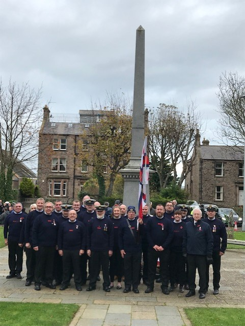 Berwick-upon-Tweed RNLI crew on parade at Spittal War Memorial
