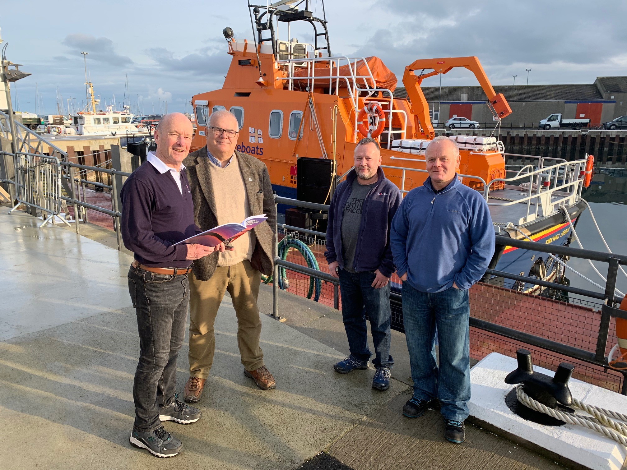 RNLI Media Trainer Richard Smith with Richard Clubley, Andy Fellows and Graham Campbell