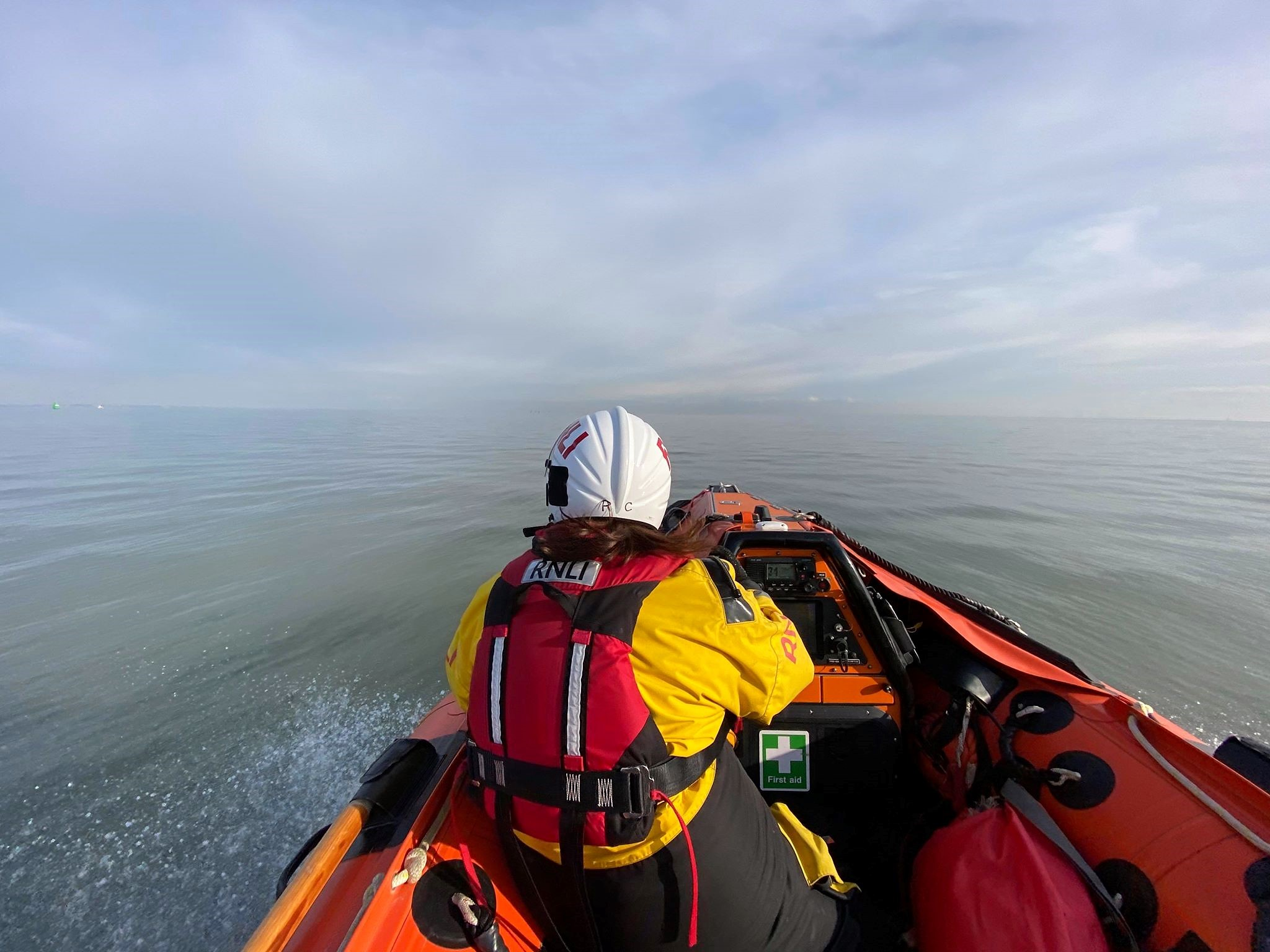 Sheerness ILB on a training excercise off the Isle Of Sheppey in 'flat calm' conditions and not a windsurfer in sight.