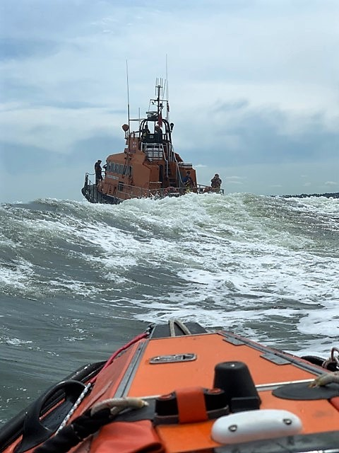 A view of the Sheerness ALB as seen from the inshore lifeboat in rather 'lumpy' seas in the Thames estuary.