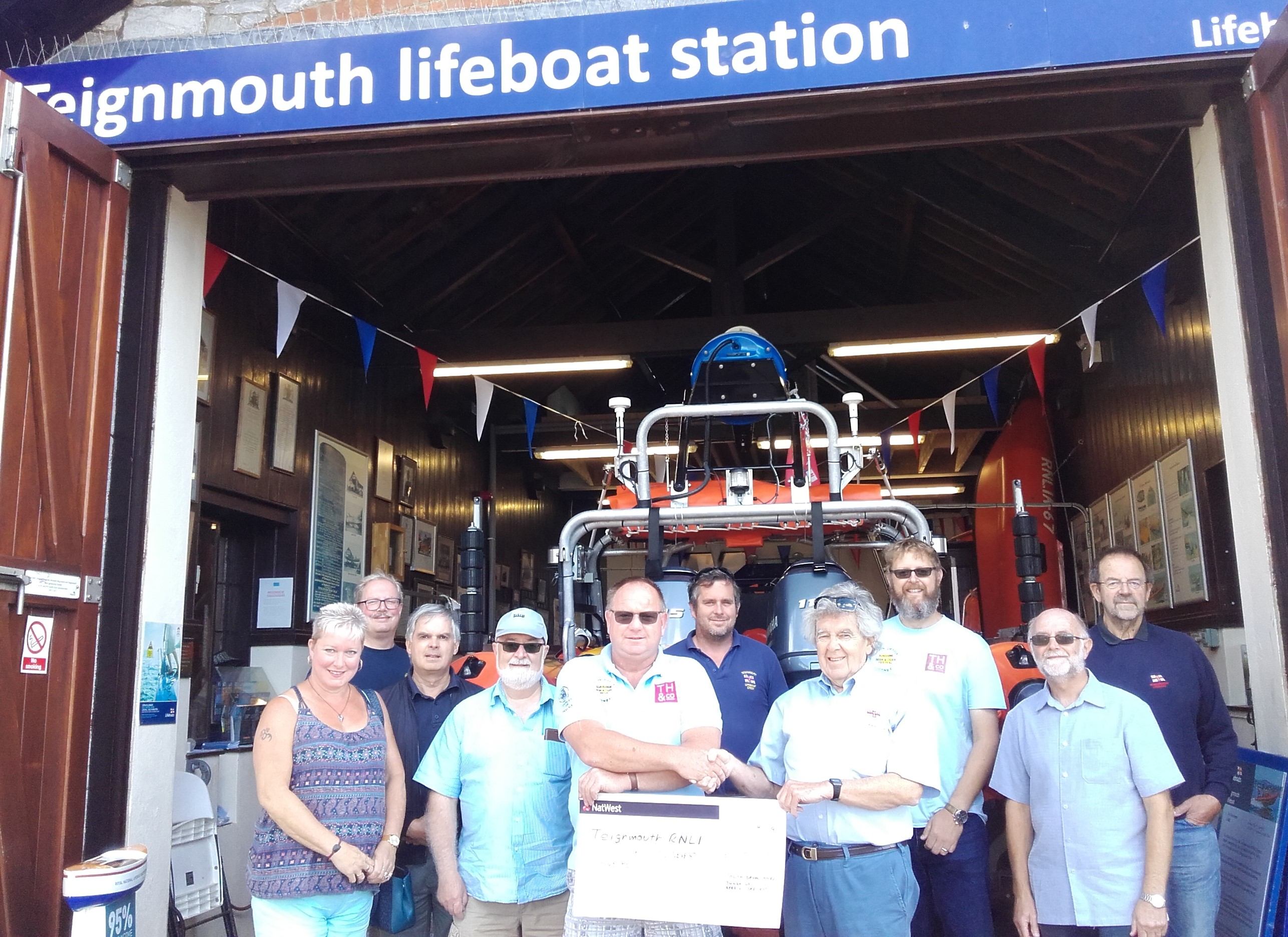 Presentation of donation at Teignmouth RNLI lifeboat station