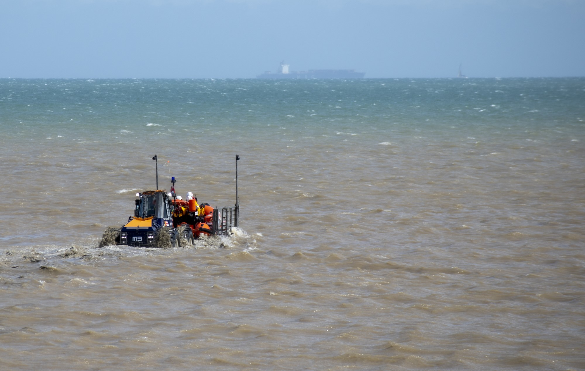 Photo of the lifeboat being recovered to the station.