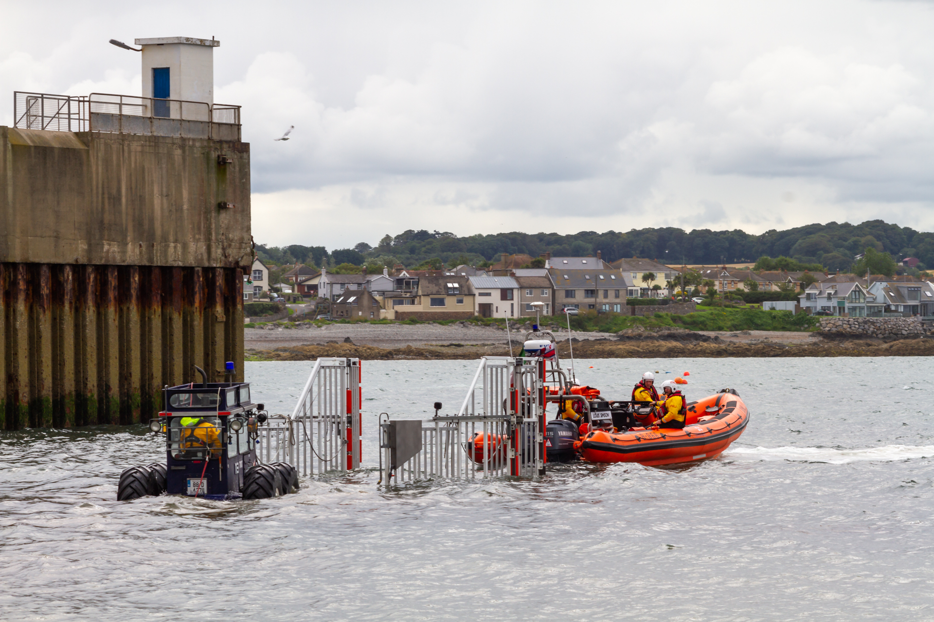 Skerries RNLI recovering their Atlantic 85 after the call out