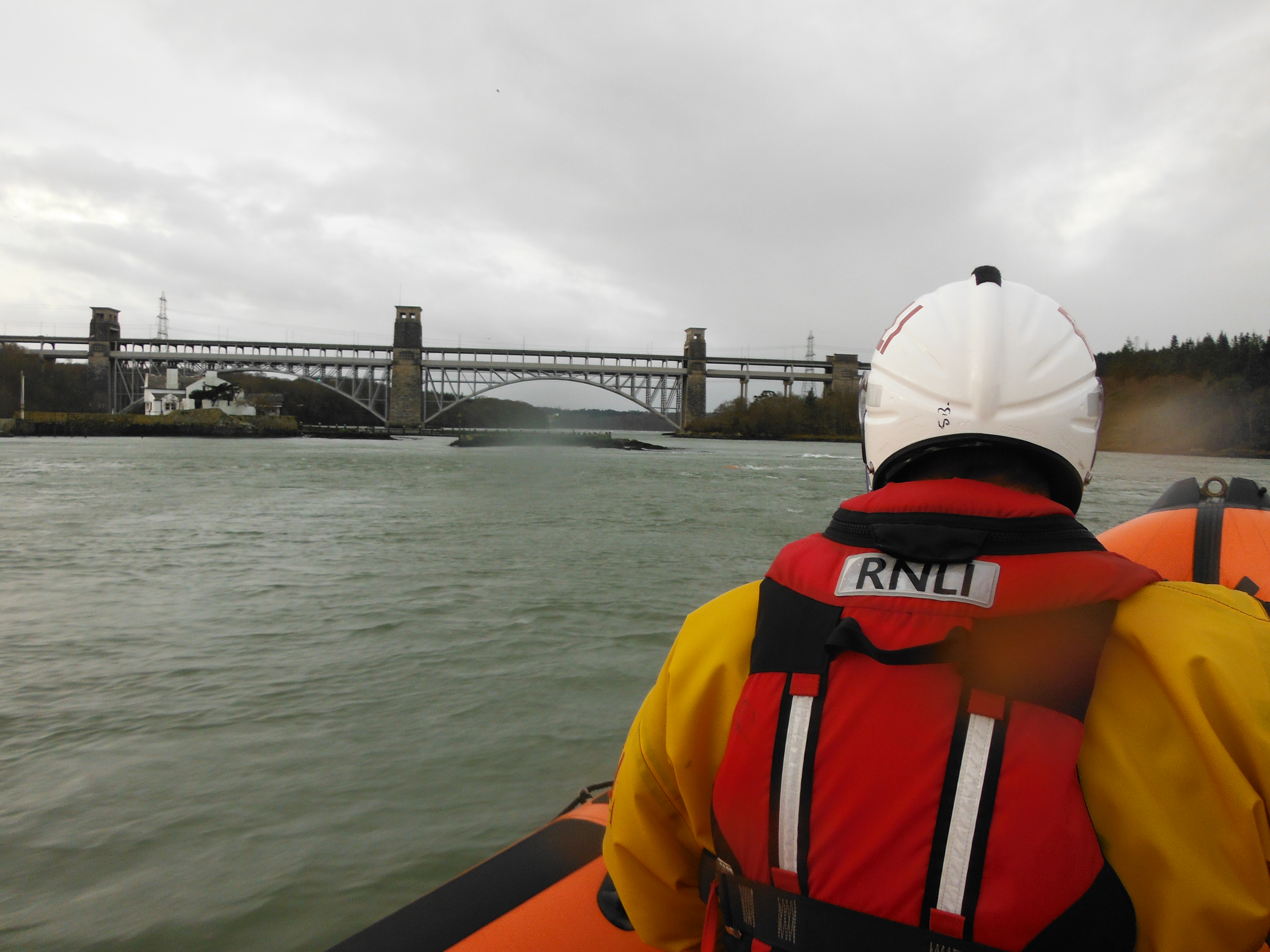 Beaumaris Lifeboat approaching the Britannia Bridge