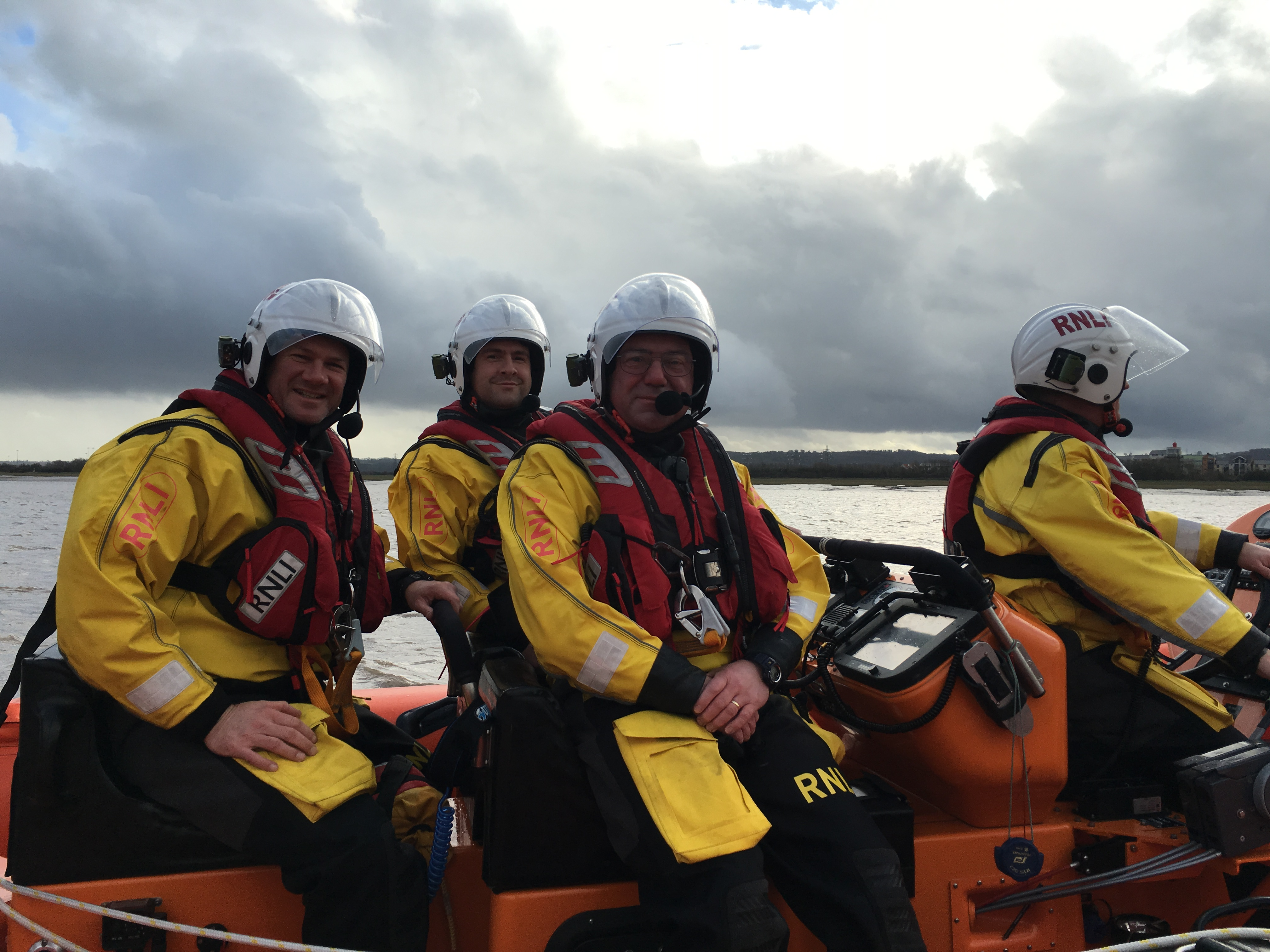 Jake (3rd left) at sea with his RNLI colleagues