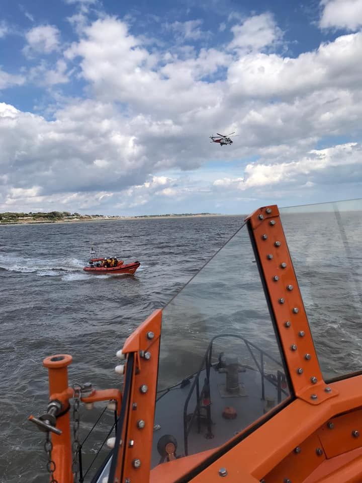 Harwich RNLI lifeboats and Coastguard Helicopter performing search