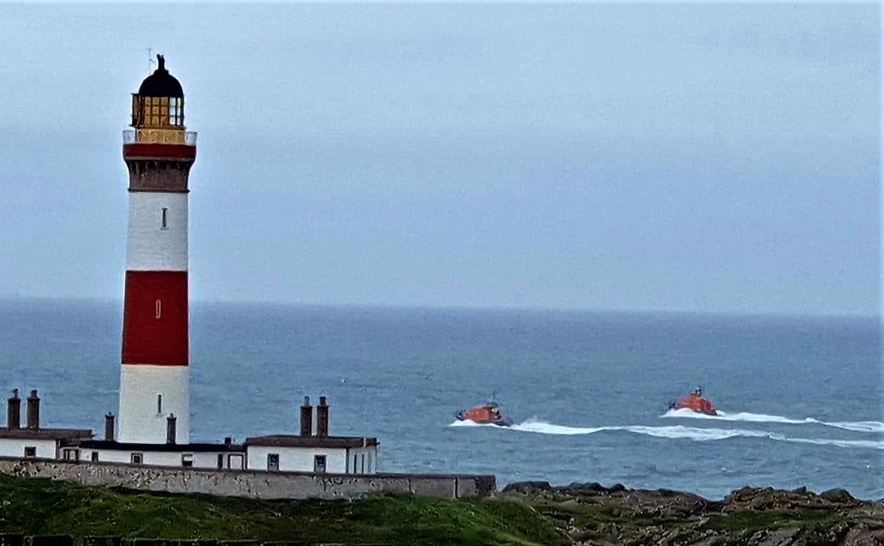 Peterhead and Fraserburgh Lifeboats conducting the search