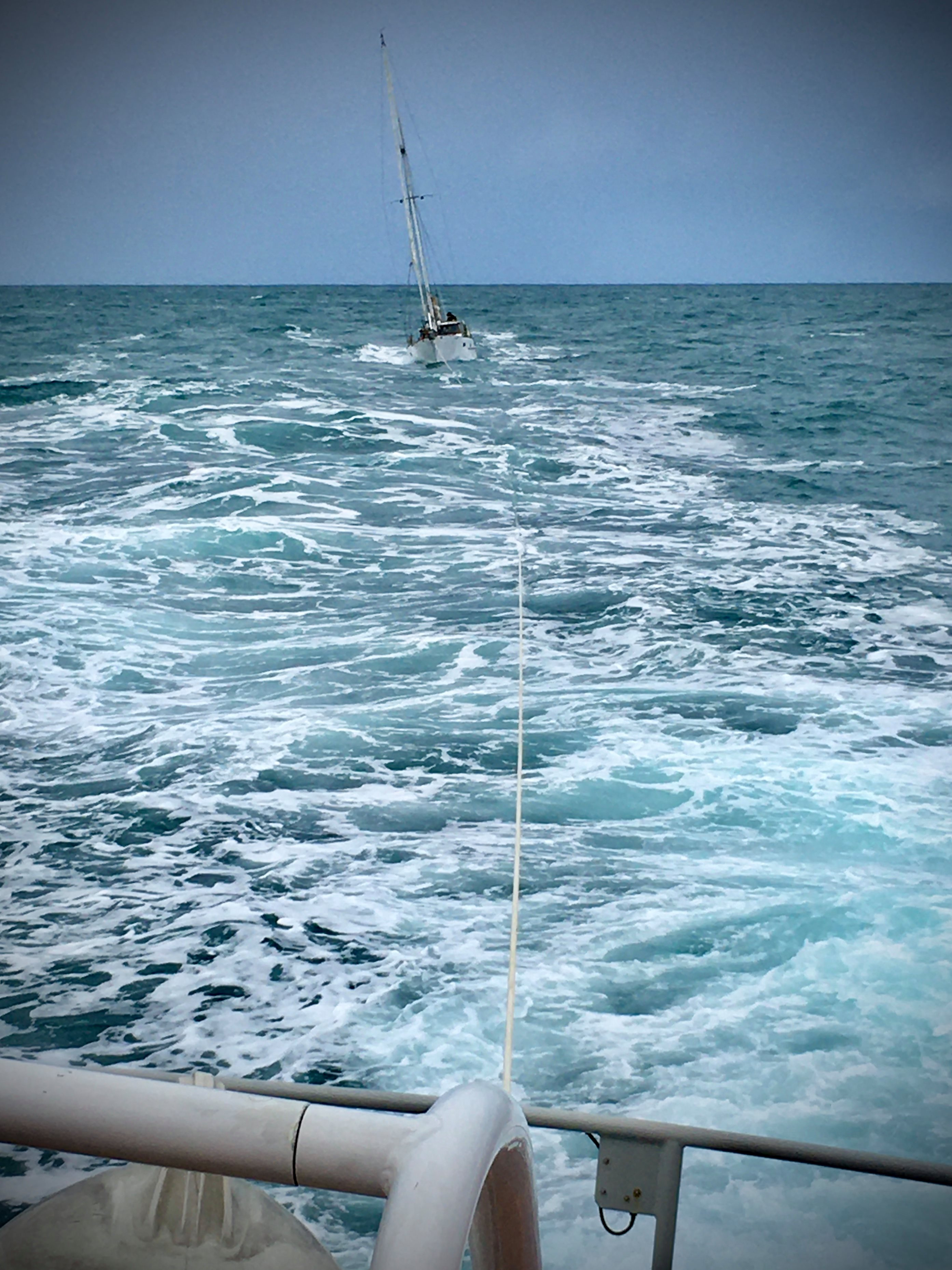 Photo shows the yacht under tow, taken from the upper steering position