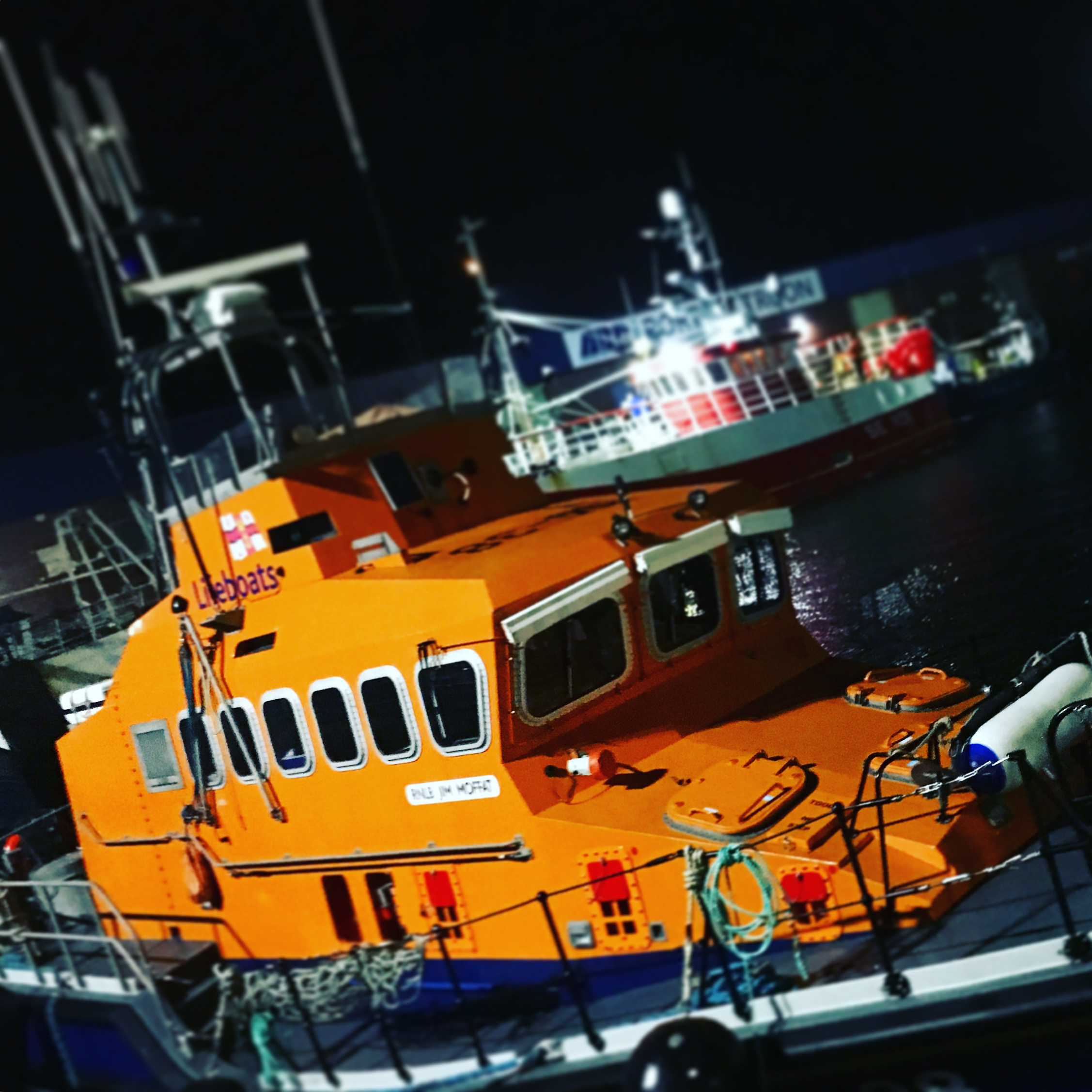 Troon RNLI all-weather lifeboat within Troon harbour