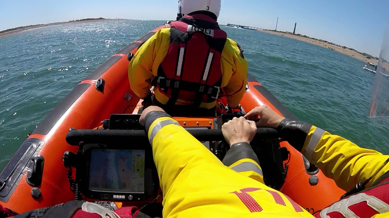 Portsmouth Lifeboat Launched to assist 3 people from a capsized speedboat. the three casualties were recovered to the Hayling Island Public Slipway before the Lifeboat returned to recover the capsized / semi-sunken 14ft Fletcher Speedboat. With assistance from the Coastguard and Public the boat was pulled to the beach, righted, bailed out and towed back to the public slipway