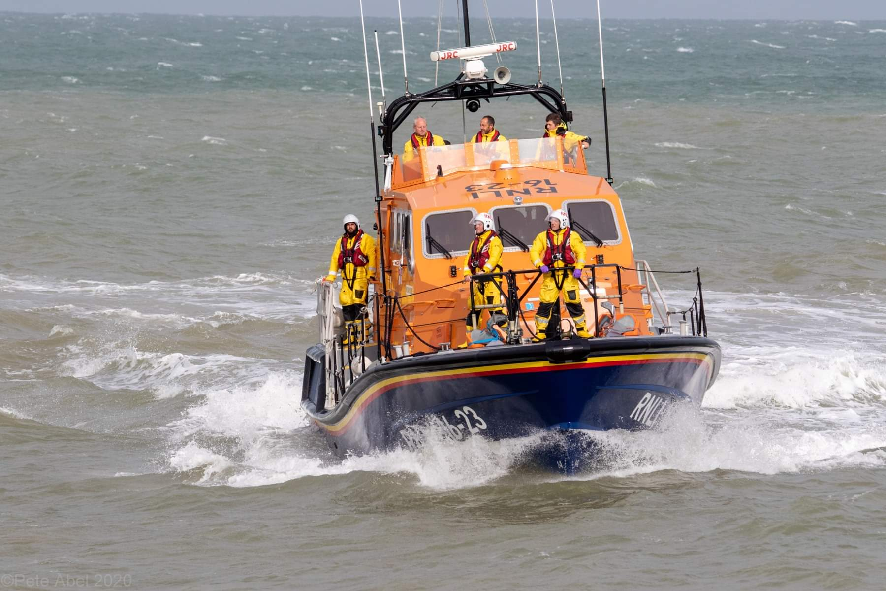Photo of the Eastbourne RNLI at sea during the search.