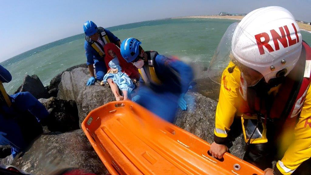 Boy with leg trapped in rock armour rescued by Selsey RNLI and CRT