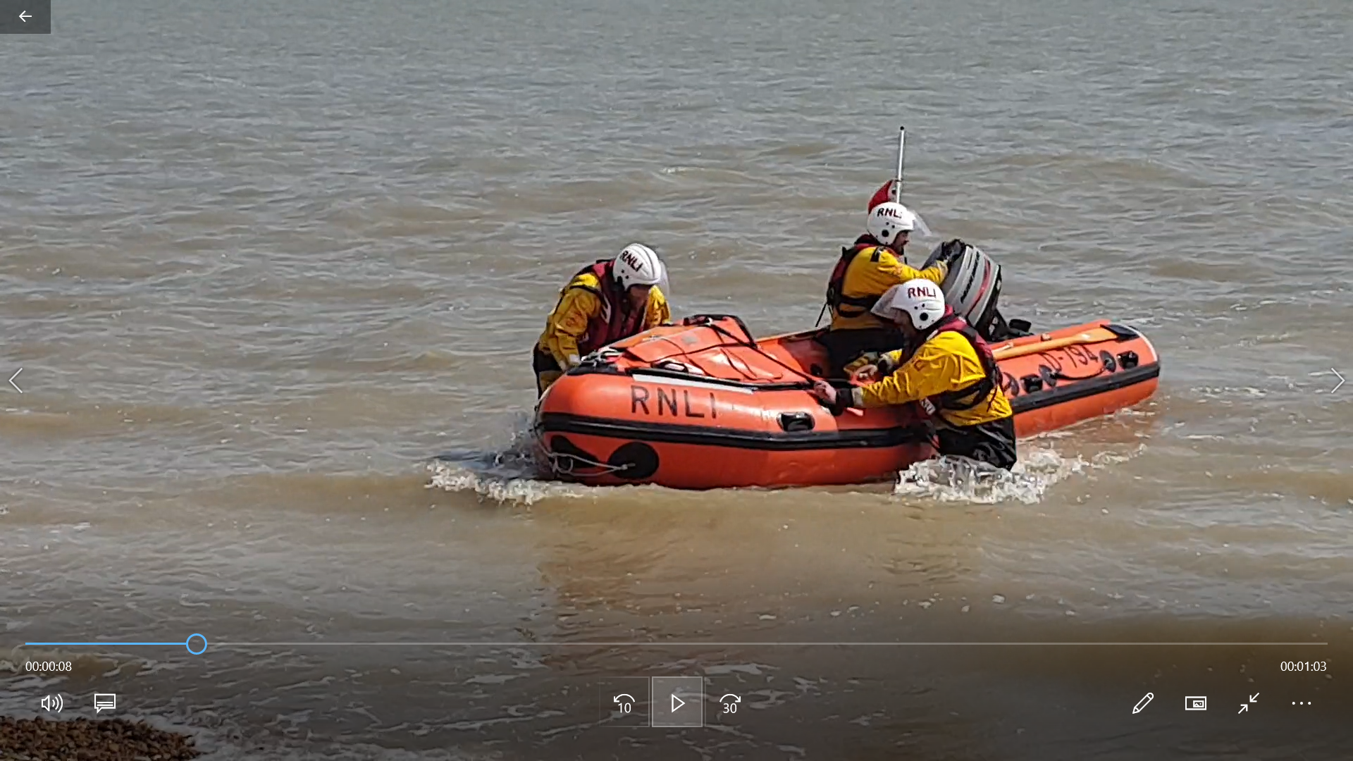Walmer's inshore lifeboat Duggie Rodbard II returning from service.