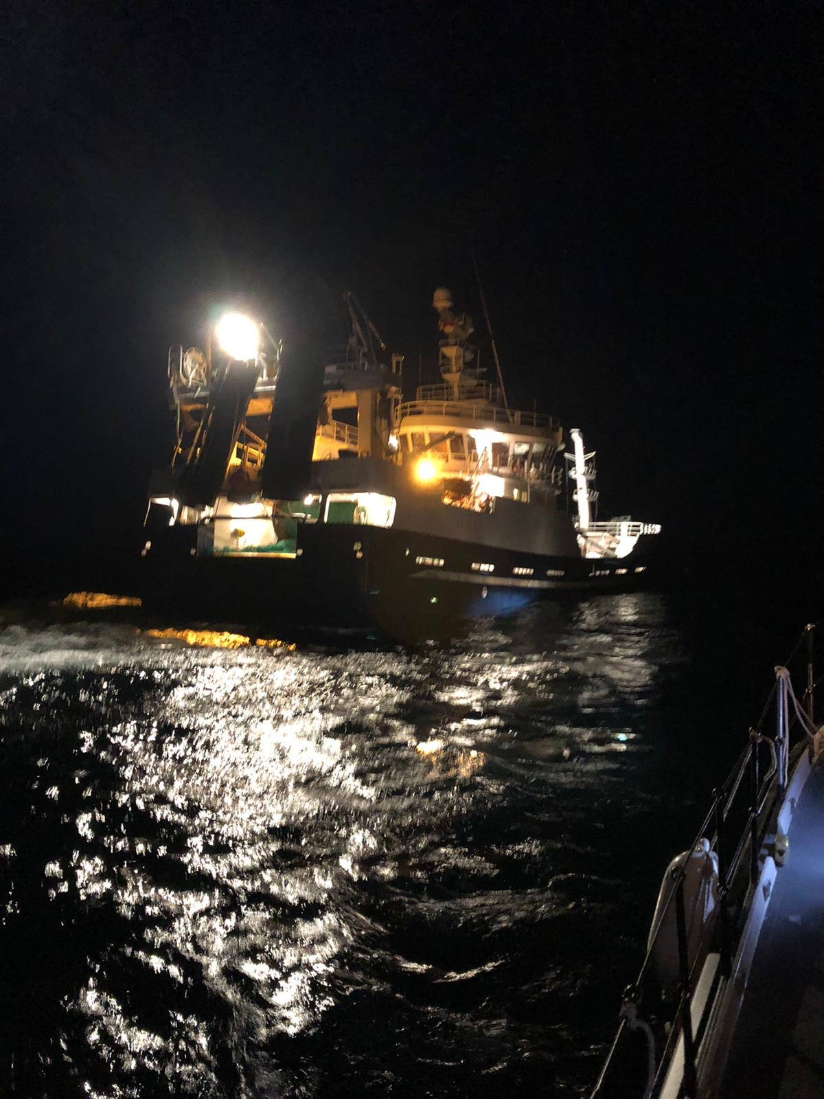 The scalloper begins to sink in the early hours of Sunday morning (31 May 2020)