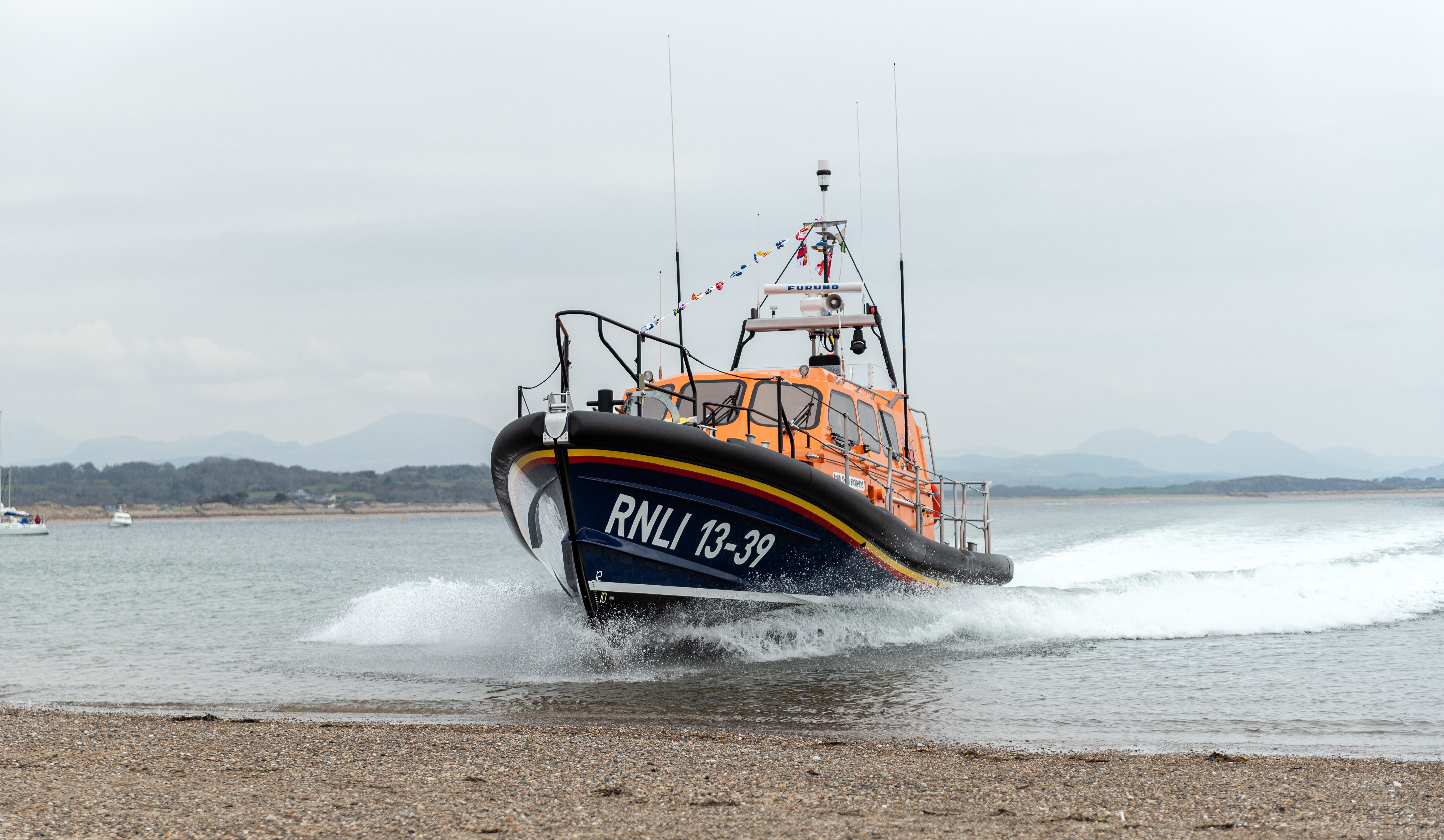 The arrival of Pwllheli RNLI Shannon Class lifeboat Smith Brothers