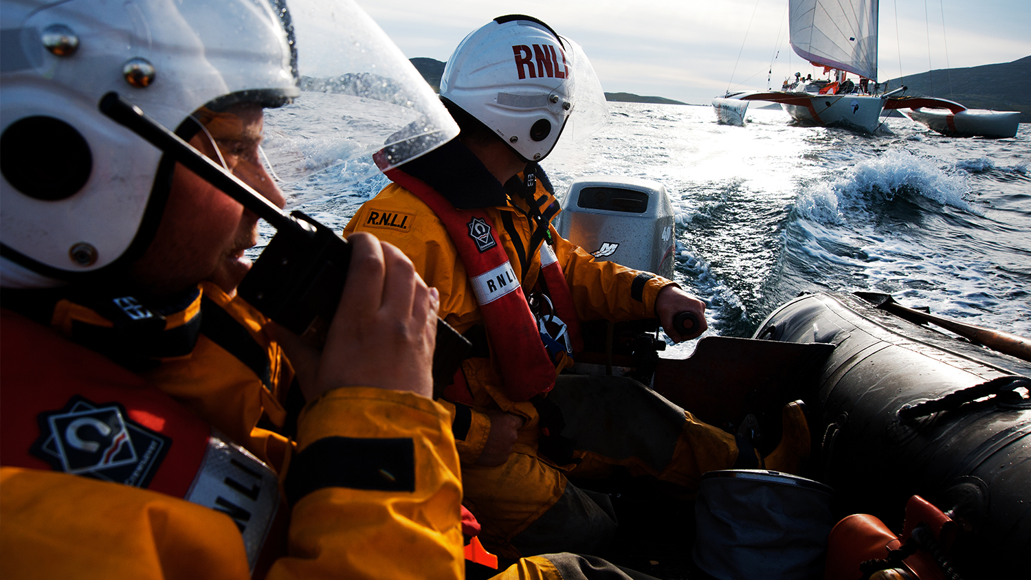 Volunteer lifeboat crew in action