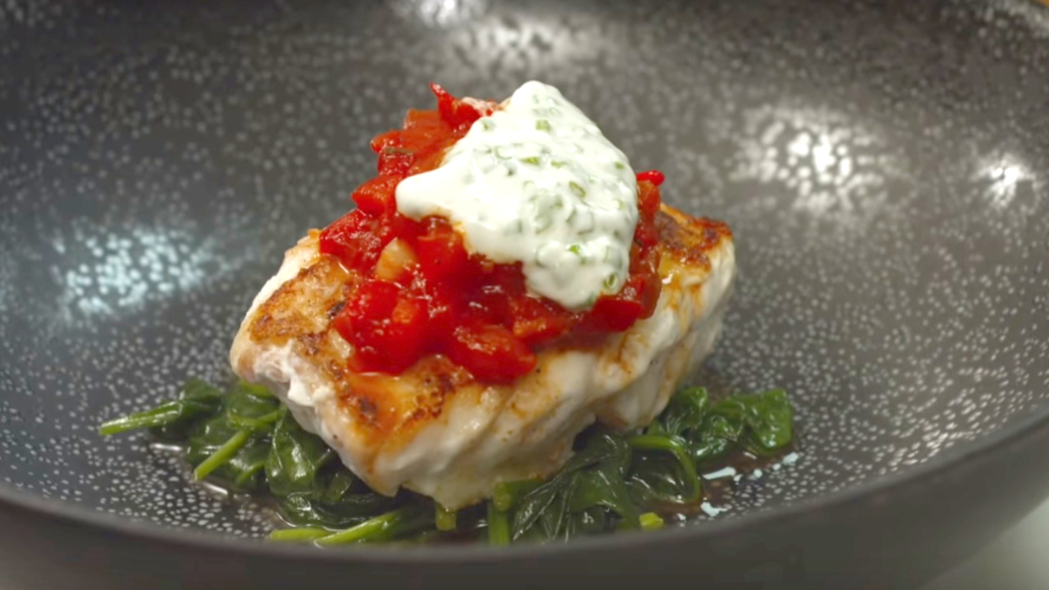 Celebrity Irish chef Derry Clarke shares his Hake, Tomato, Chilli & Wilted Spinach recipe for Fish Supper 2019