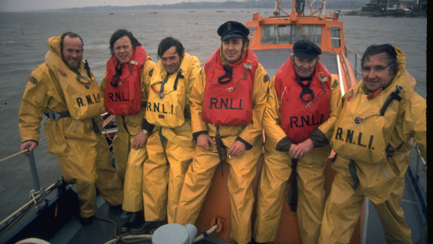 Exmouth lifeboat crew wearing Beaufort lifejackets in 1974