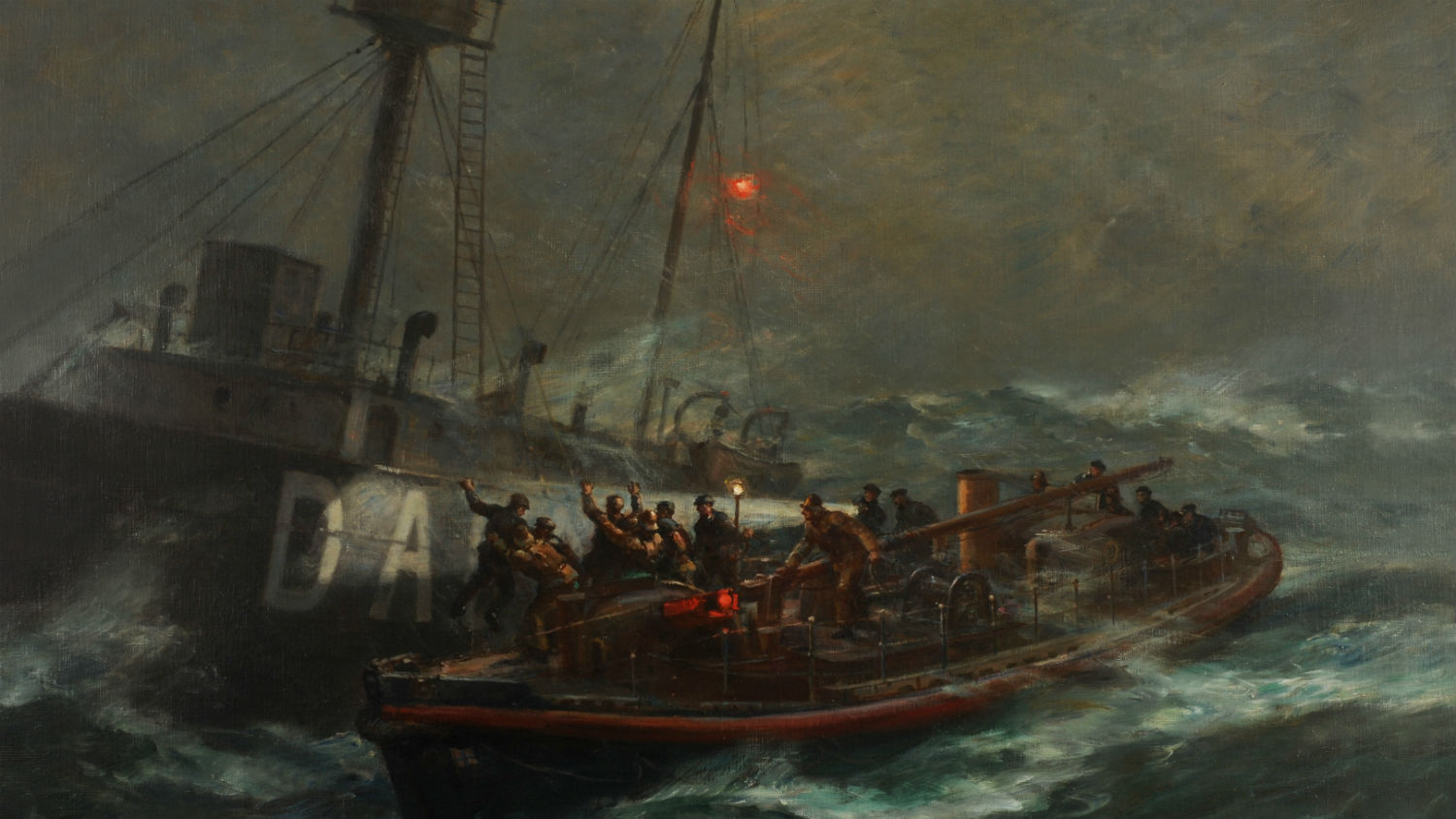 Bernard Gribble painting of the Ballycotton lifeboat rescuing the crew of the Daunt Rock lightahip.