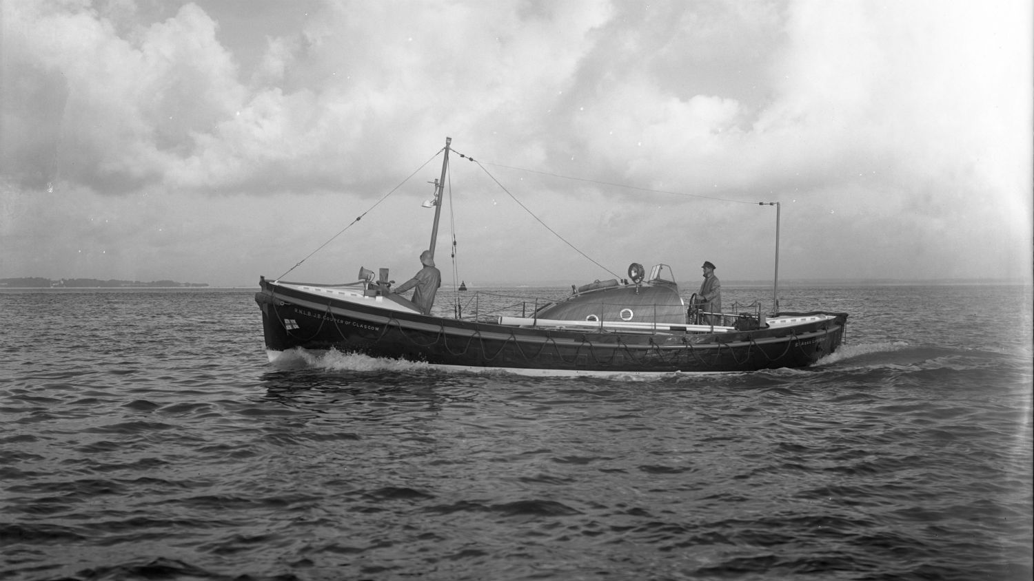 Black and white image of St Abbs lifeboat, JB Couper of Glasgow, while on trials