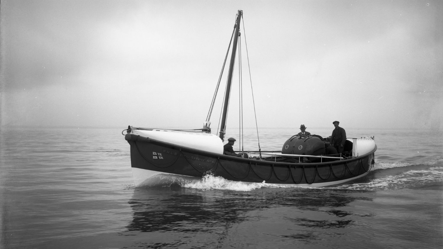 Black and white image of Whitehills lifeboat, Civil Service No.4, while on trials