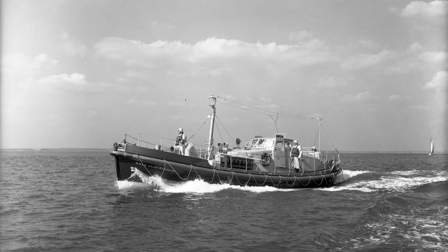 Black and white image of Whitehills lifeboat, Helen Wycherley, while on trials