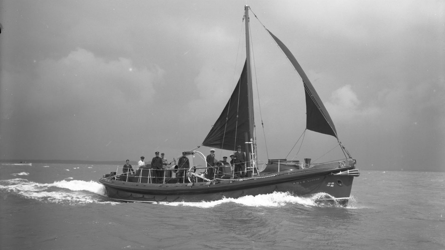 Black and white image of Barra Island lifeboat, Lloyds, while on trials