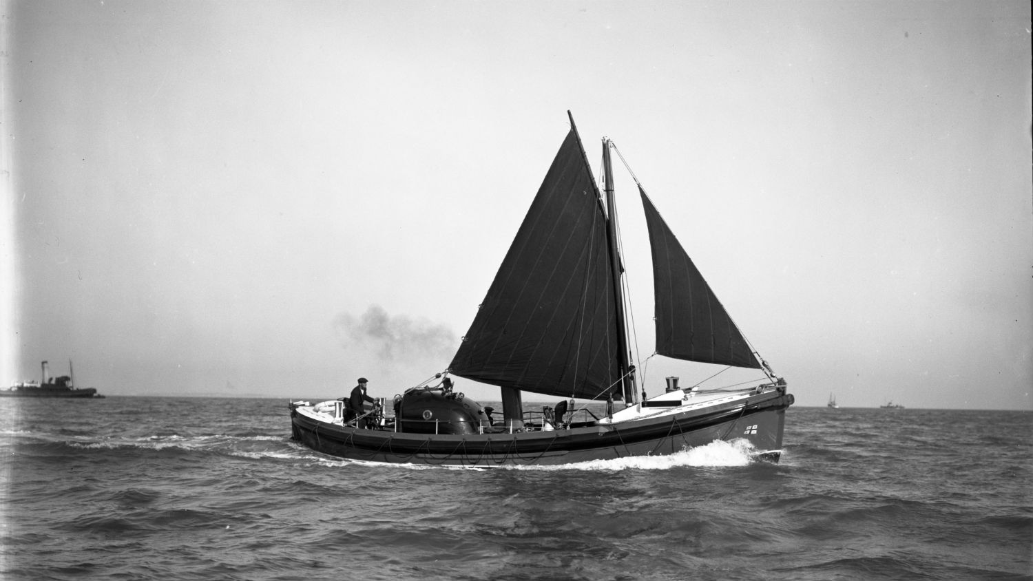 Black and white image of Port Patrick lifeboat, J. and W., while on trials