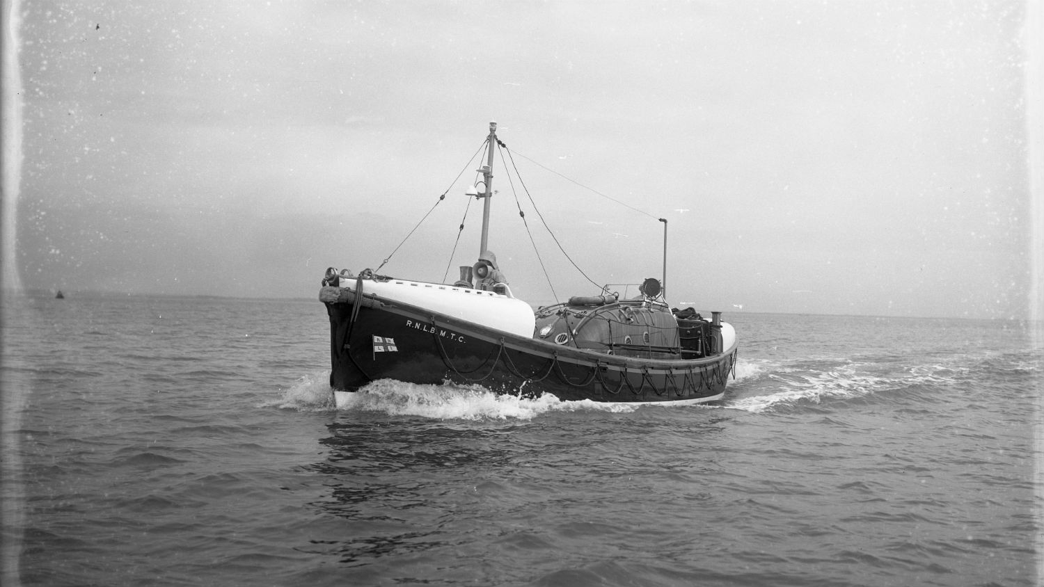 Black and white image of Hastings lifeboat, M.T.C., while on trials