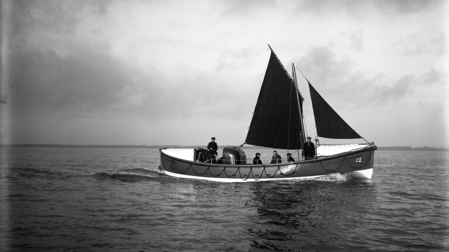 Black and white image of Hythe lifeboat, City of Nottingham , while on trials